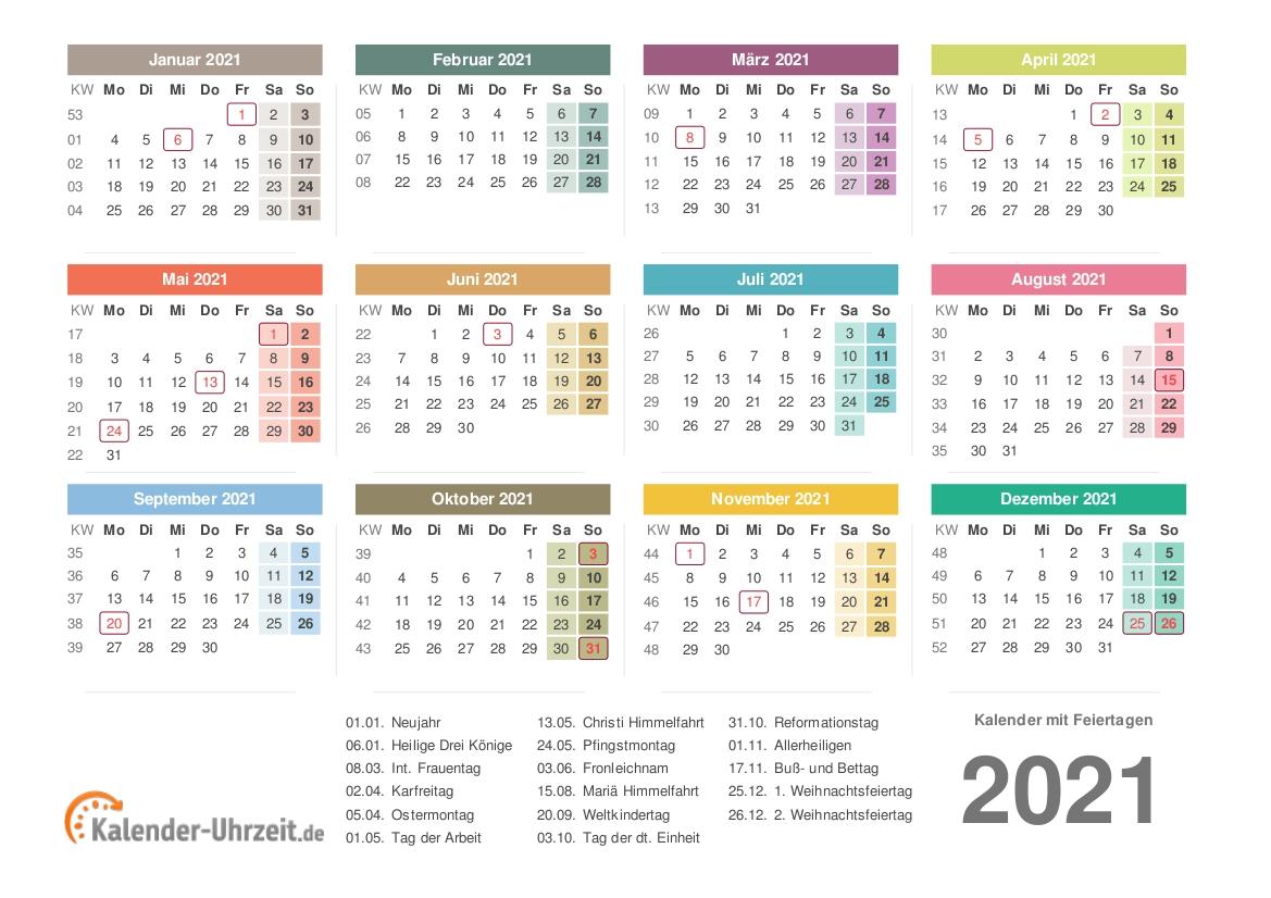 Take Jahreskalender 2021 Deutsch