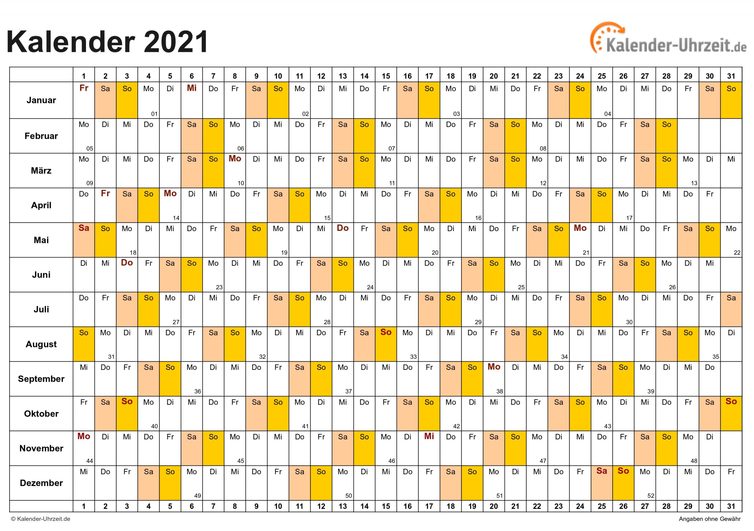 Take Jahreskalender 2021 Gross