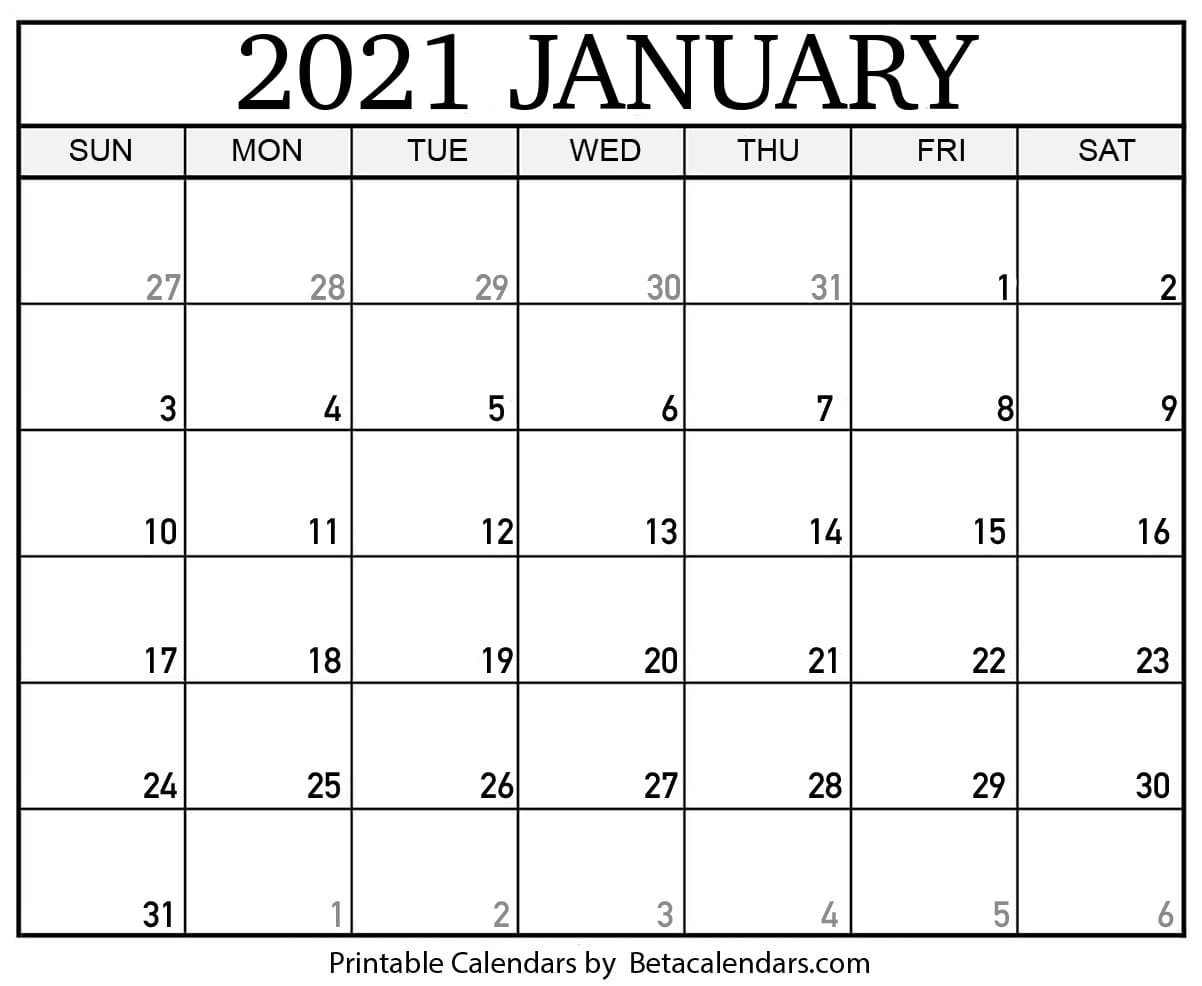 Take January 2021 Blank Calendar Motivated