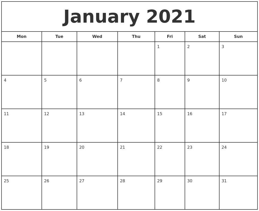 Take January 2021 Calendar Printable Org