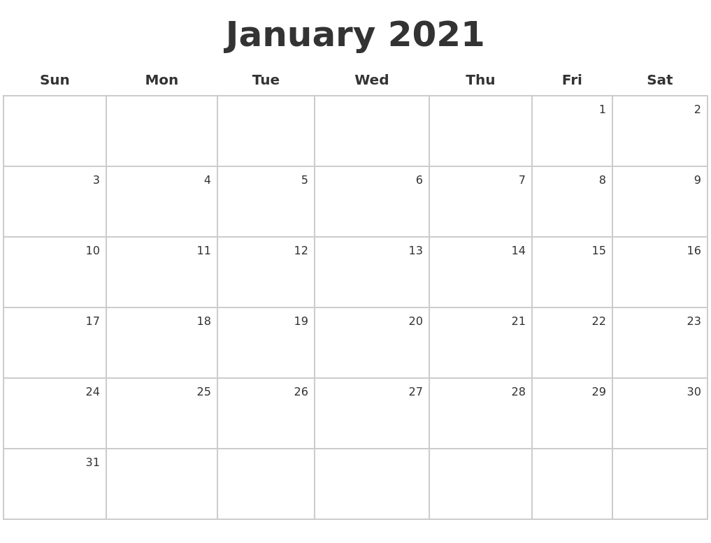 Take January 2021 Calendar