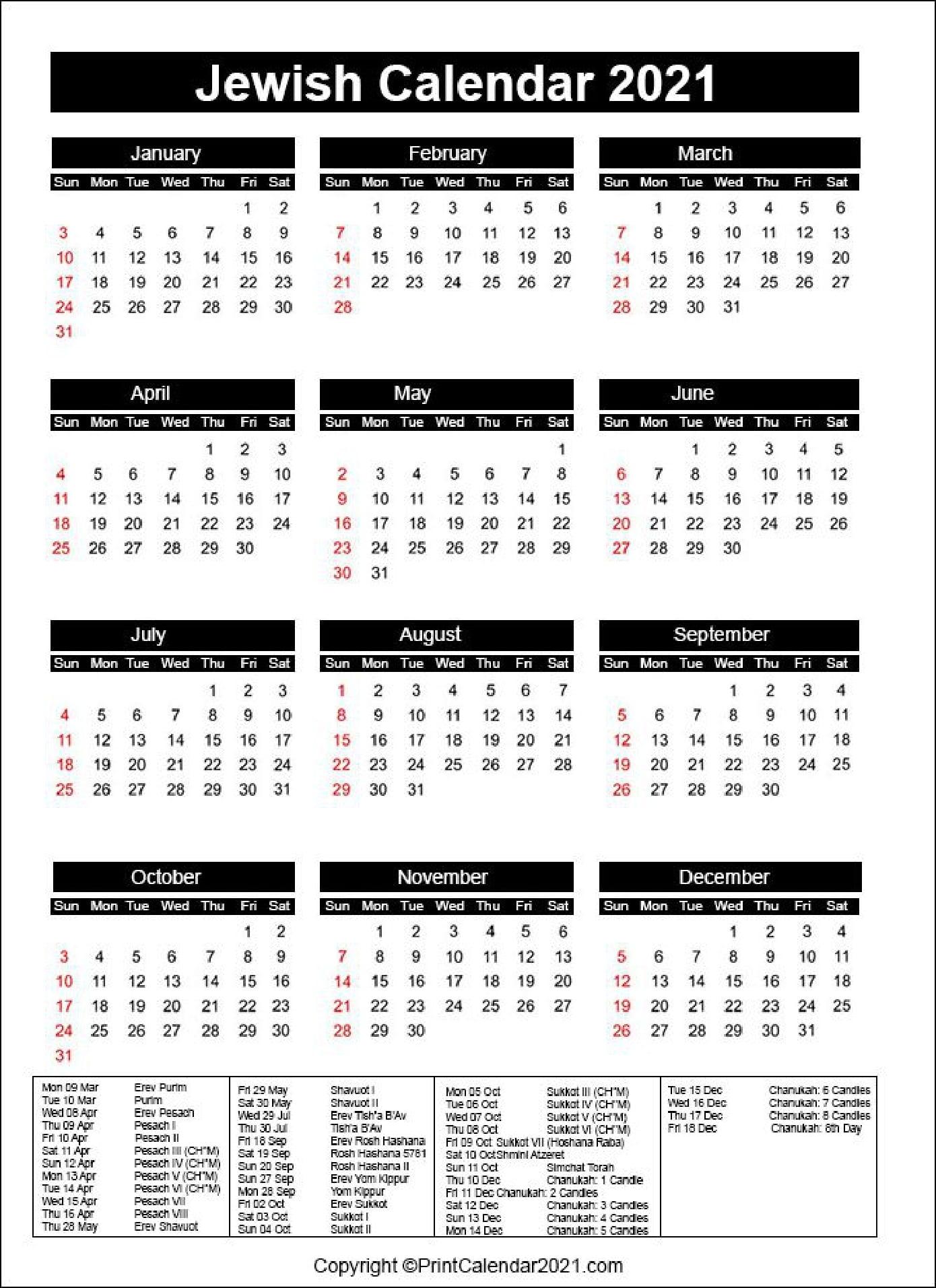 Take Jewish Calendar Year 2021