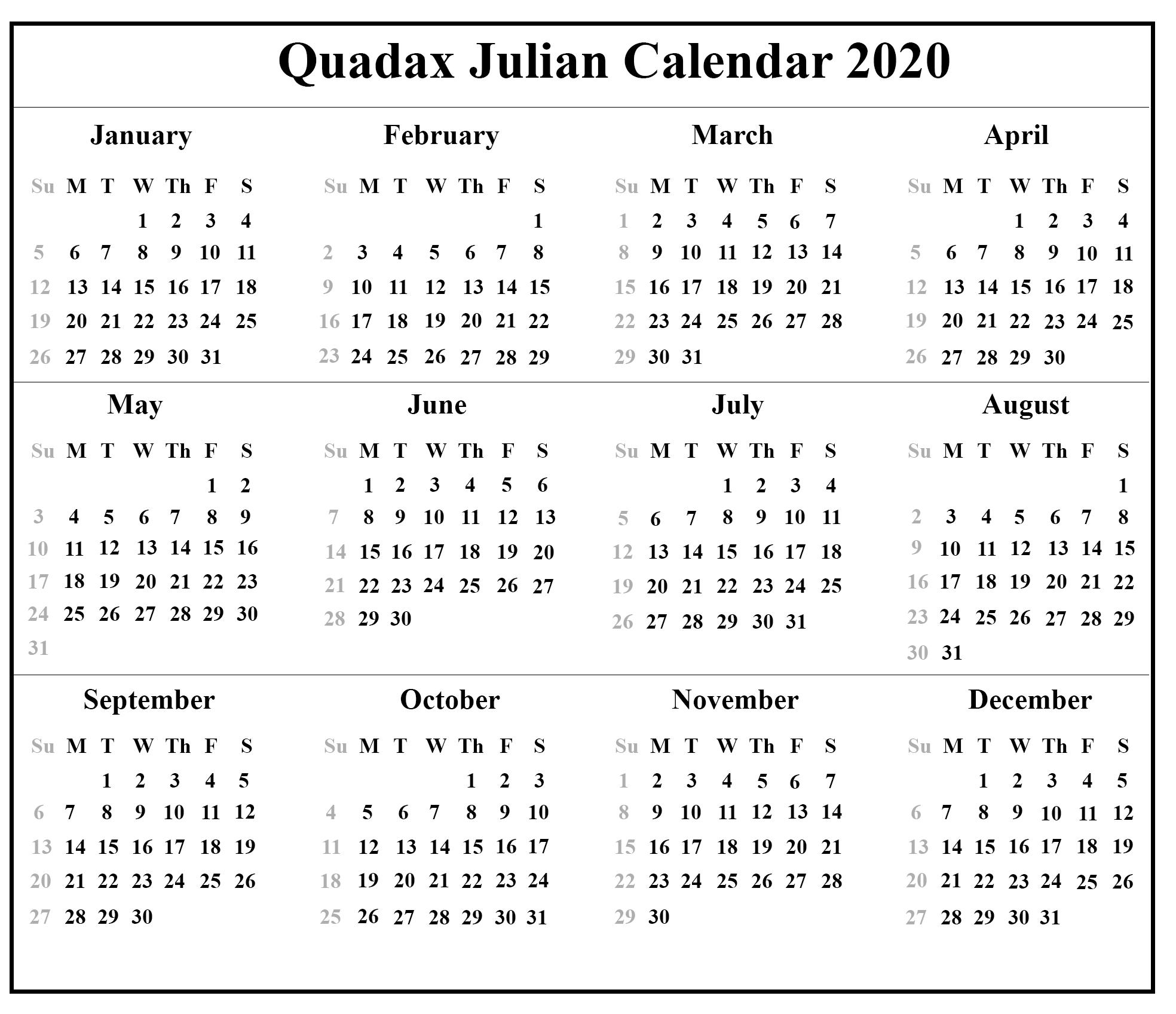 Take Julian Date Calendar 2021 Printable