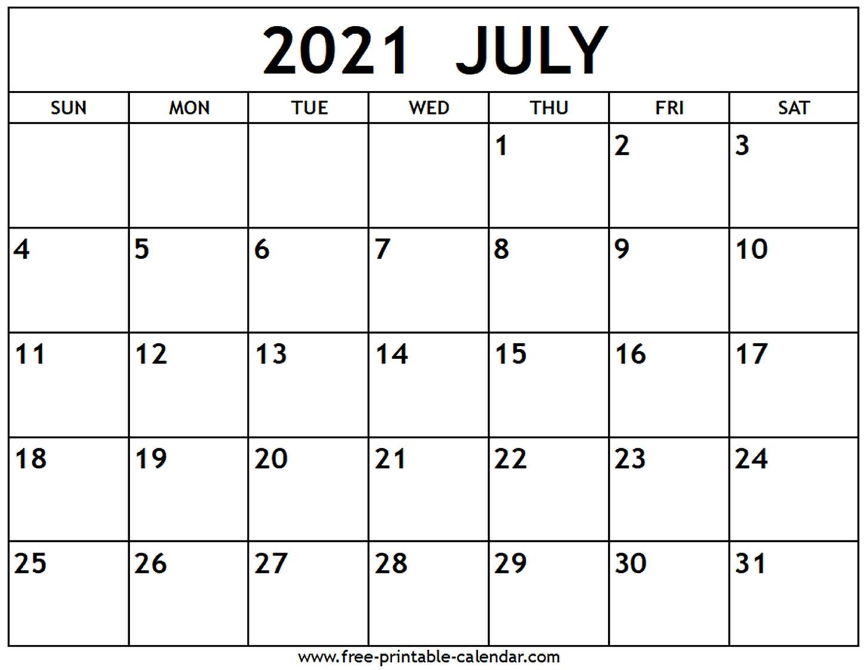 Take July 2021 Calendar Template