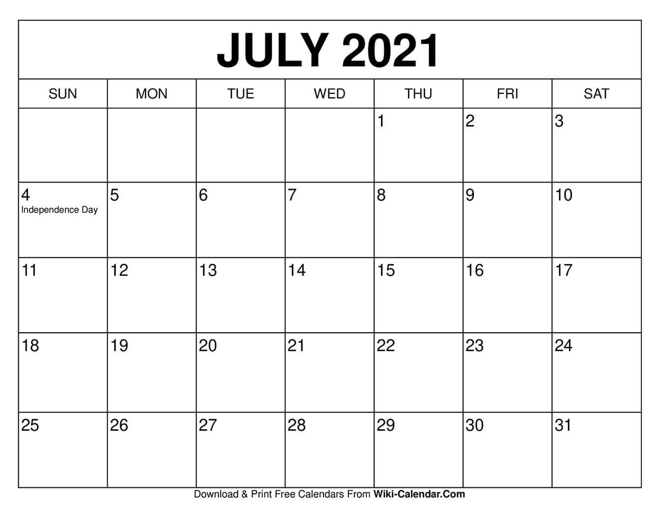 Take July Calendar Free Screensavers 2021