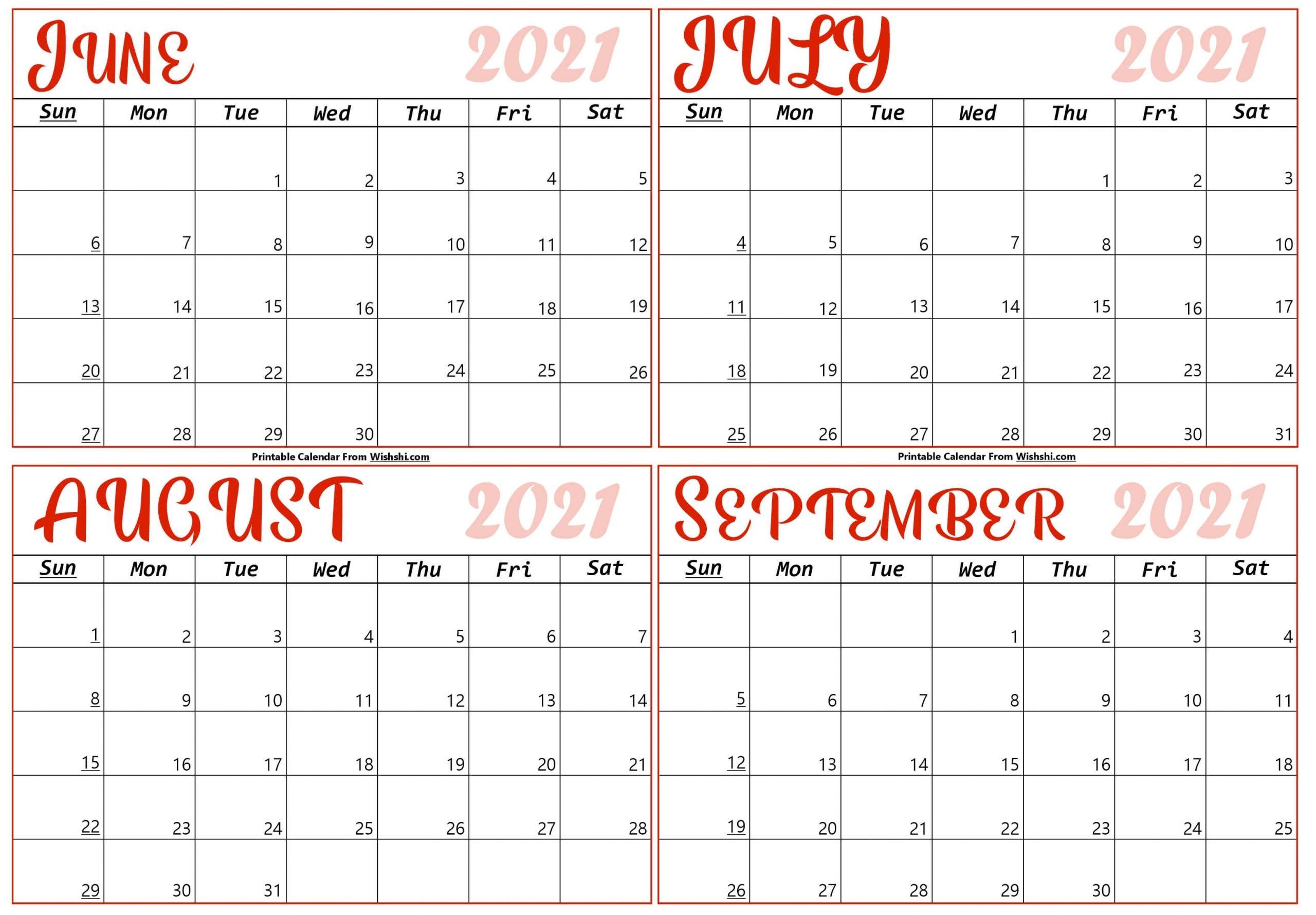 Take June To September 2021 Calendar