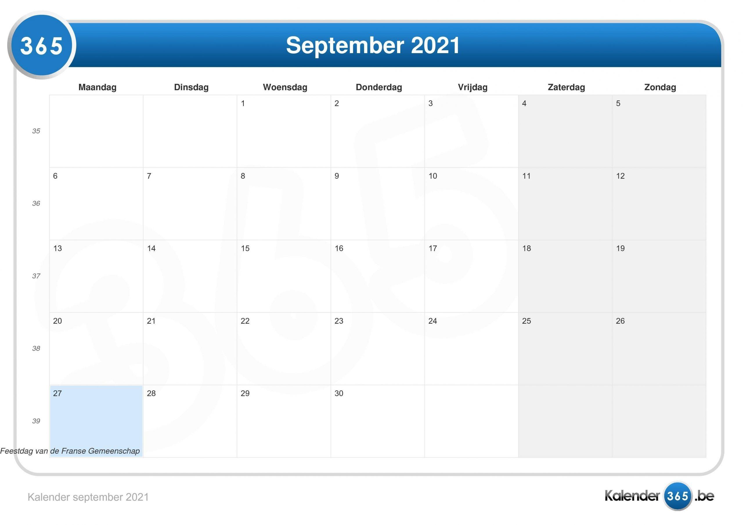 Take Kalender 2021 Augustus September