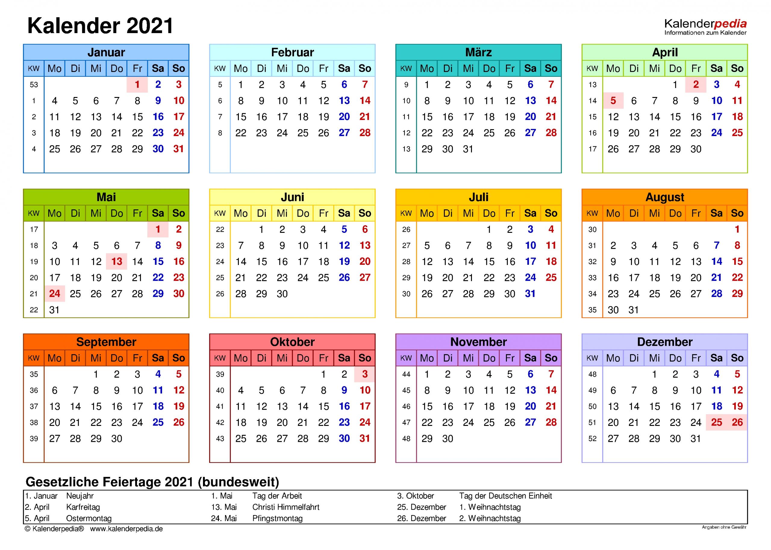 Take Kalender 2021 Deutsch