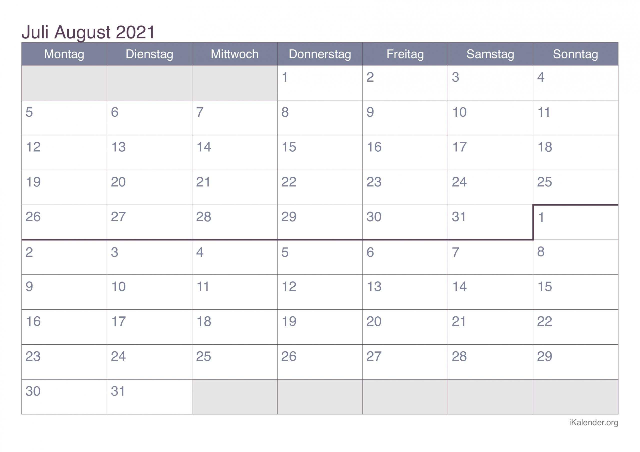 Take Kalender 2021 Juli August
