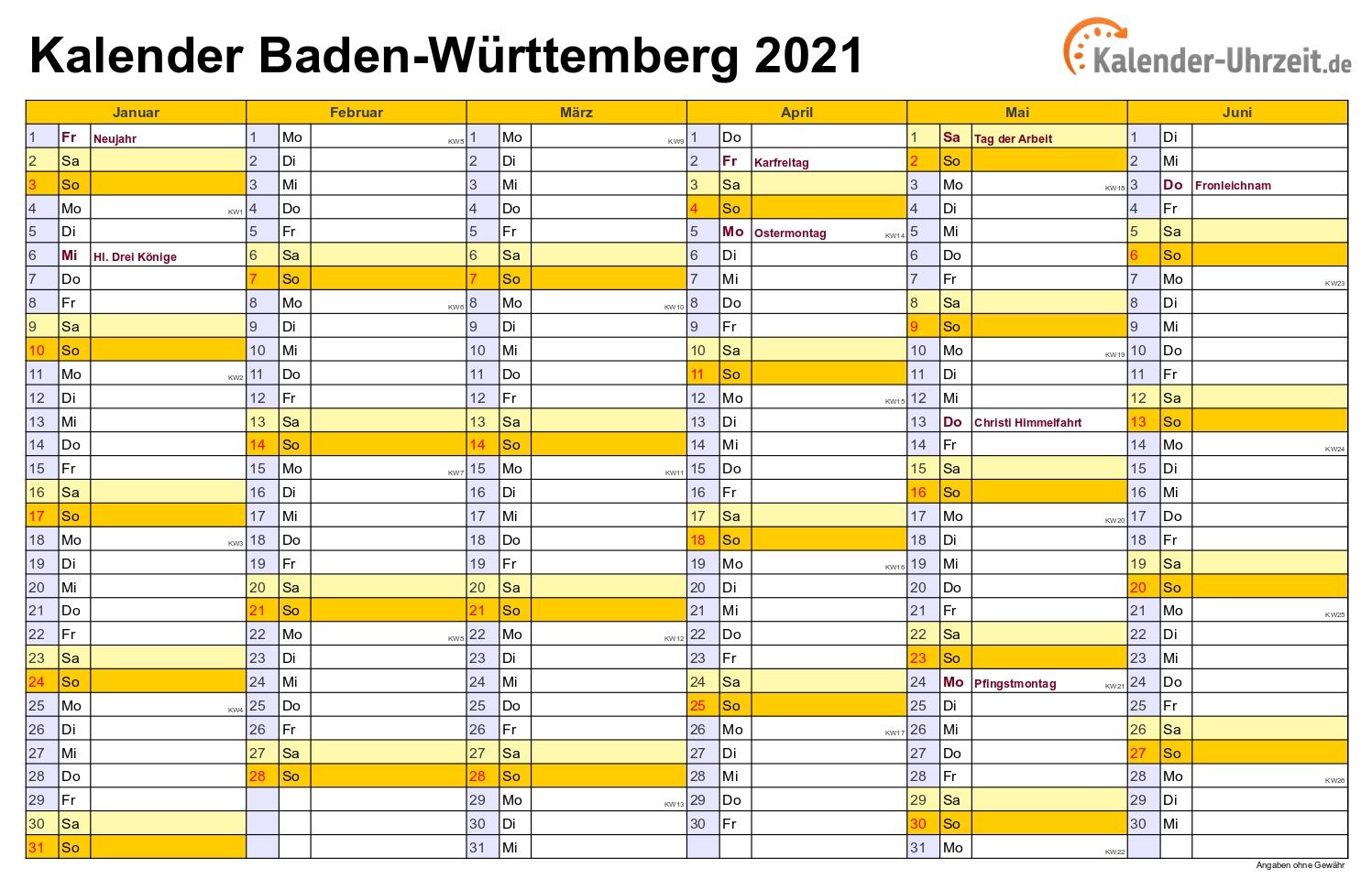 Take Kalender 2021 Zum Ausdrucken Kostenlos Baden Württemberg