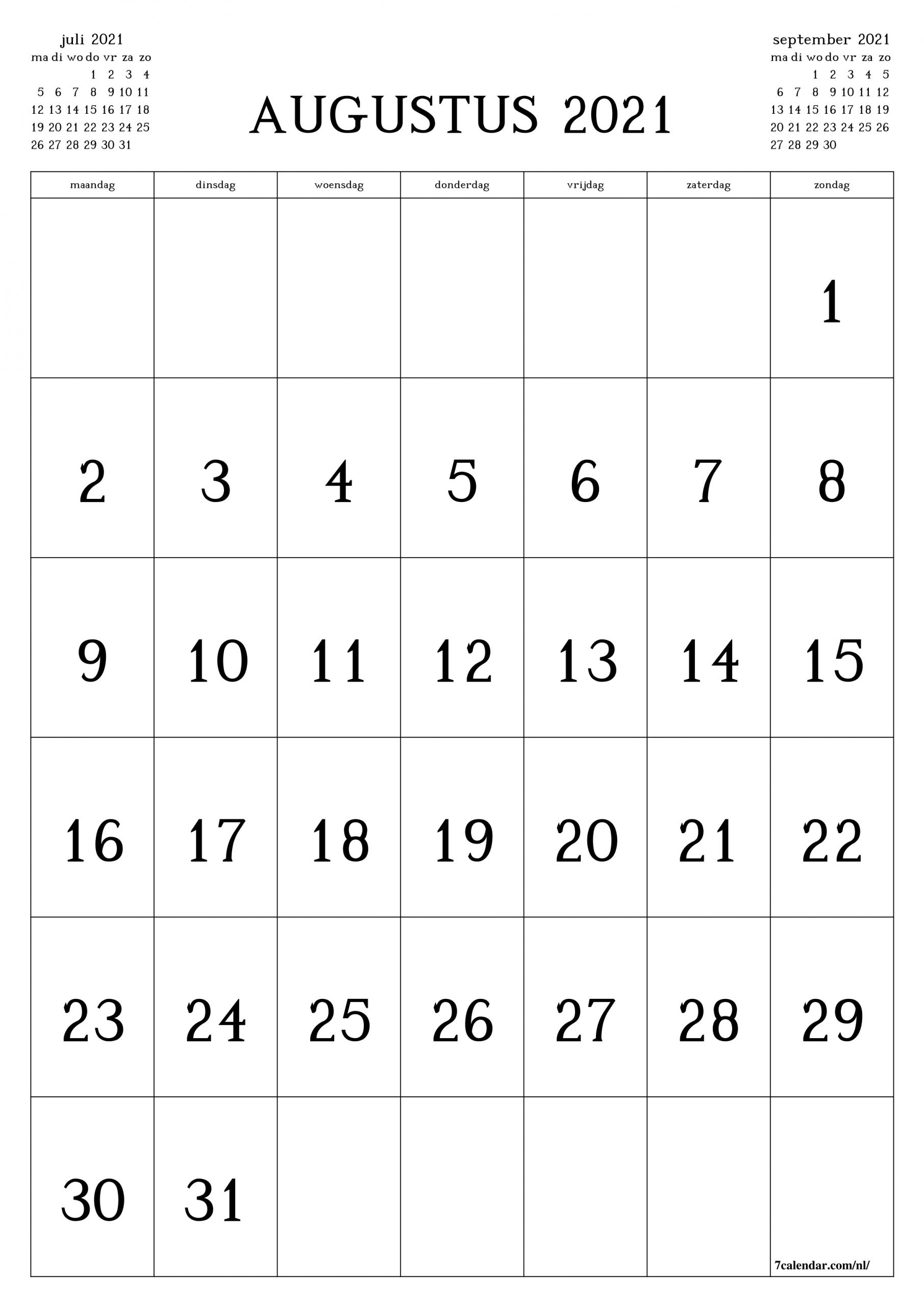 Take Kalender Augustus 2021
