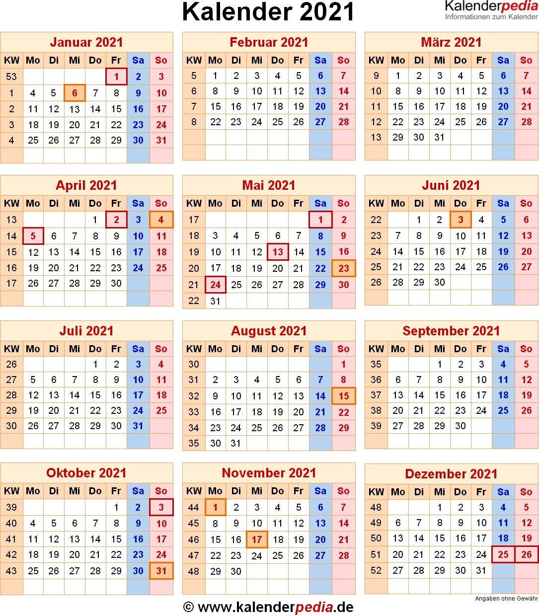 Take Kalender Deutsch 2021