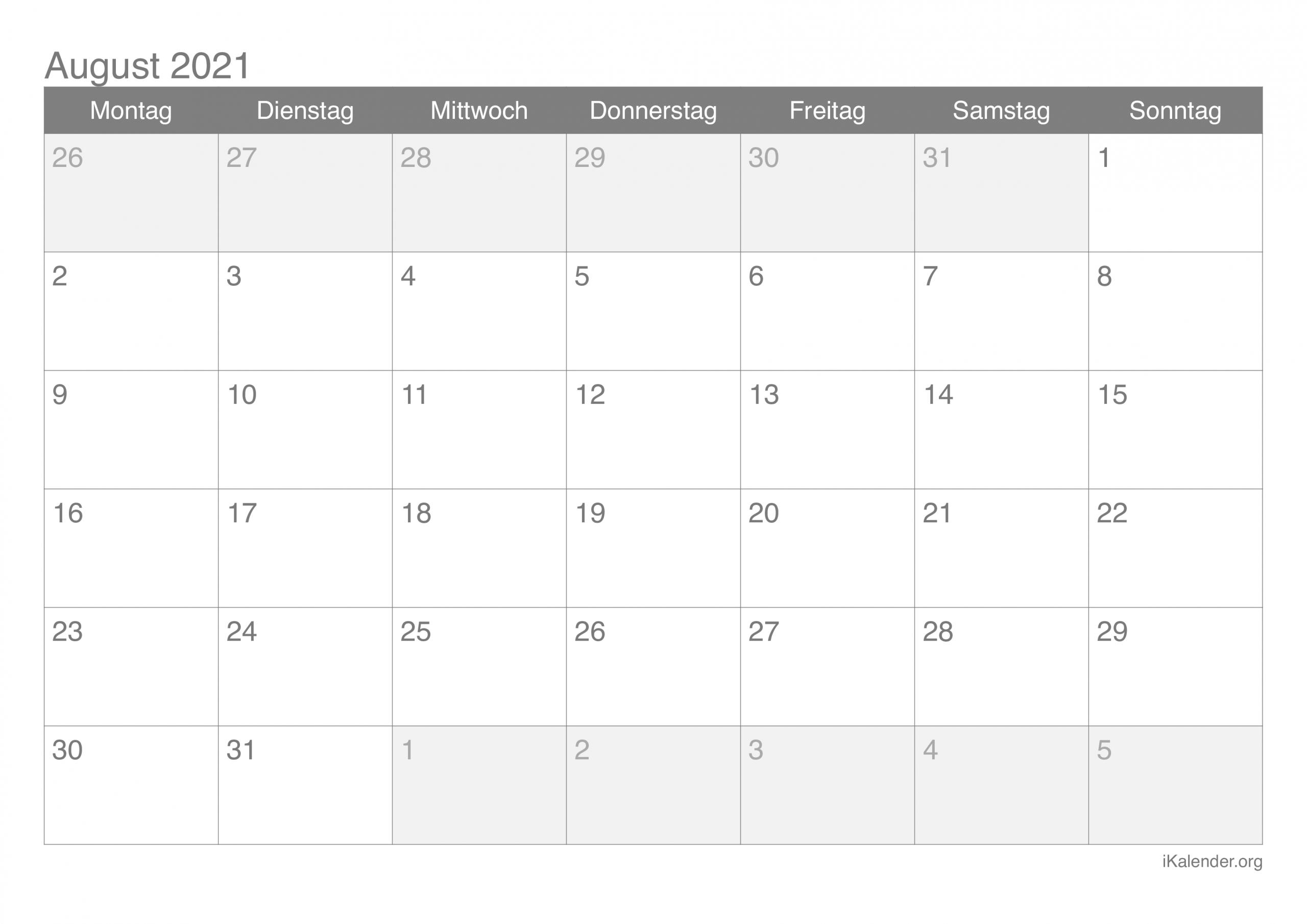 Take Kalender Monat August 2021 Zum Ausdrucken Kostenlos