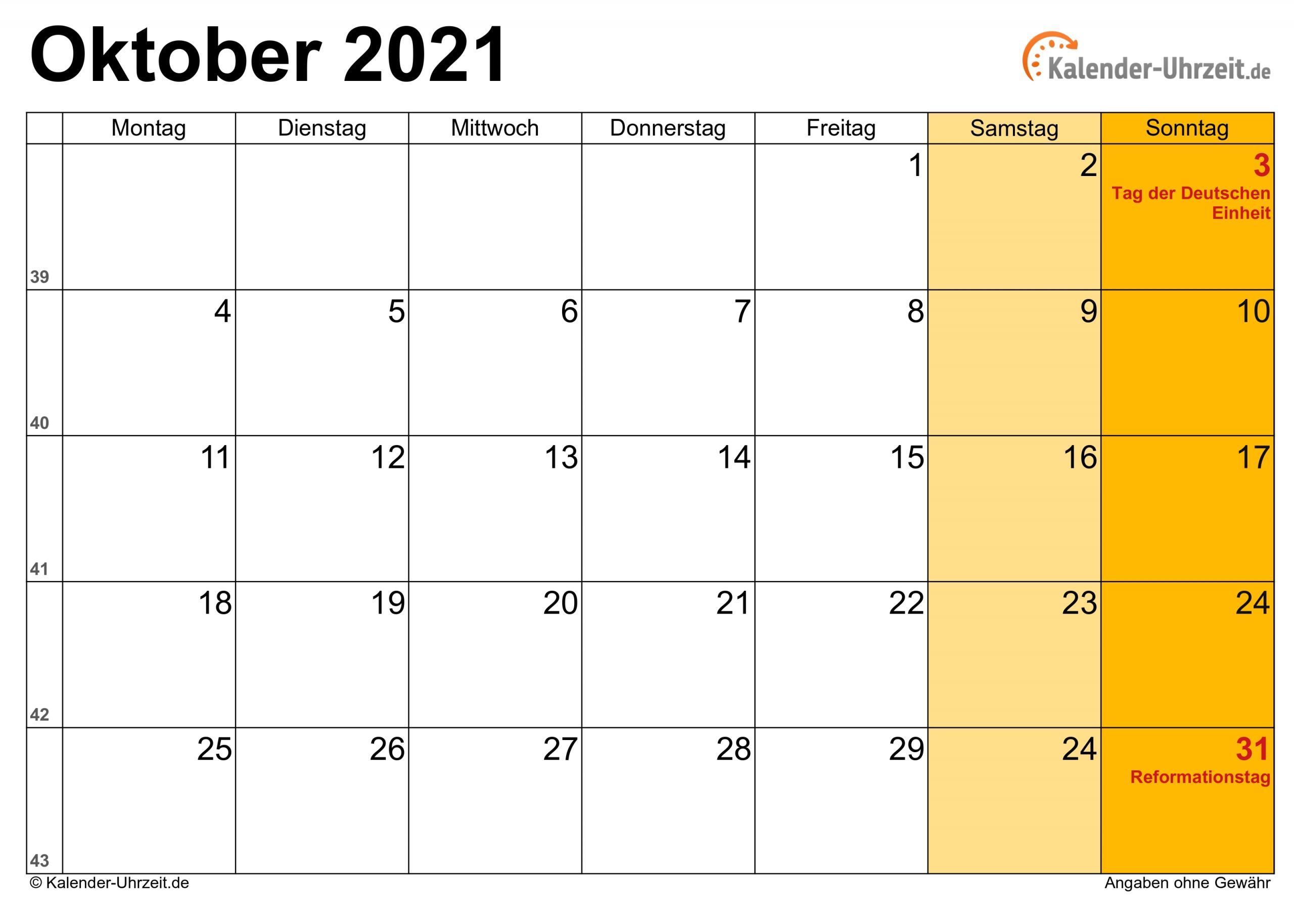 Take Kalender Oktober 2021