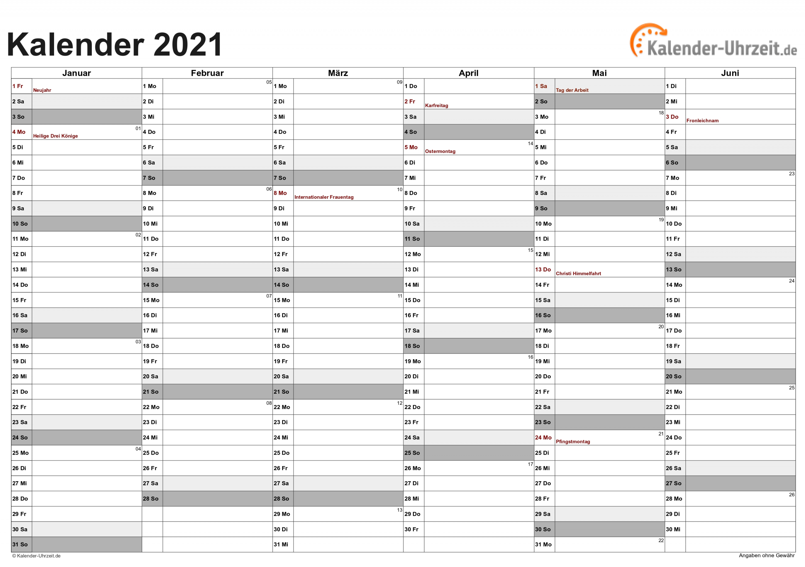 Take Kalenderblatt 2021 Zum Ausdrucken