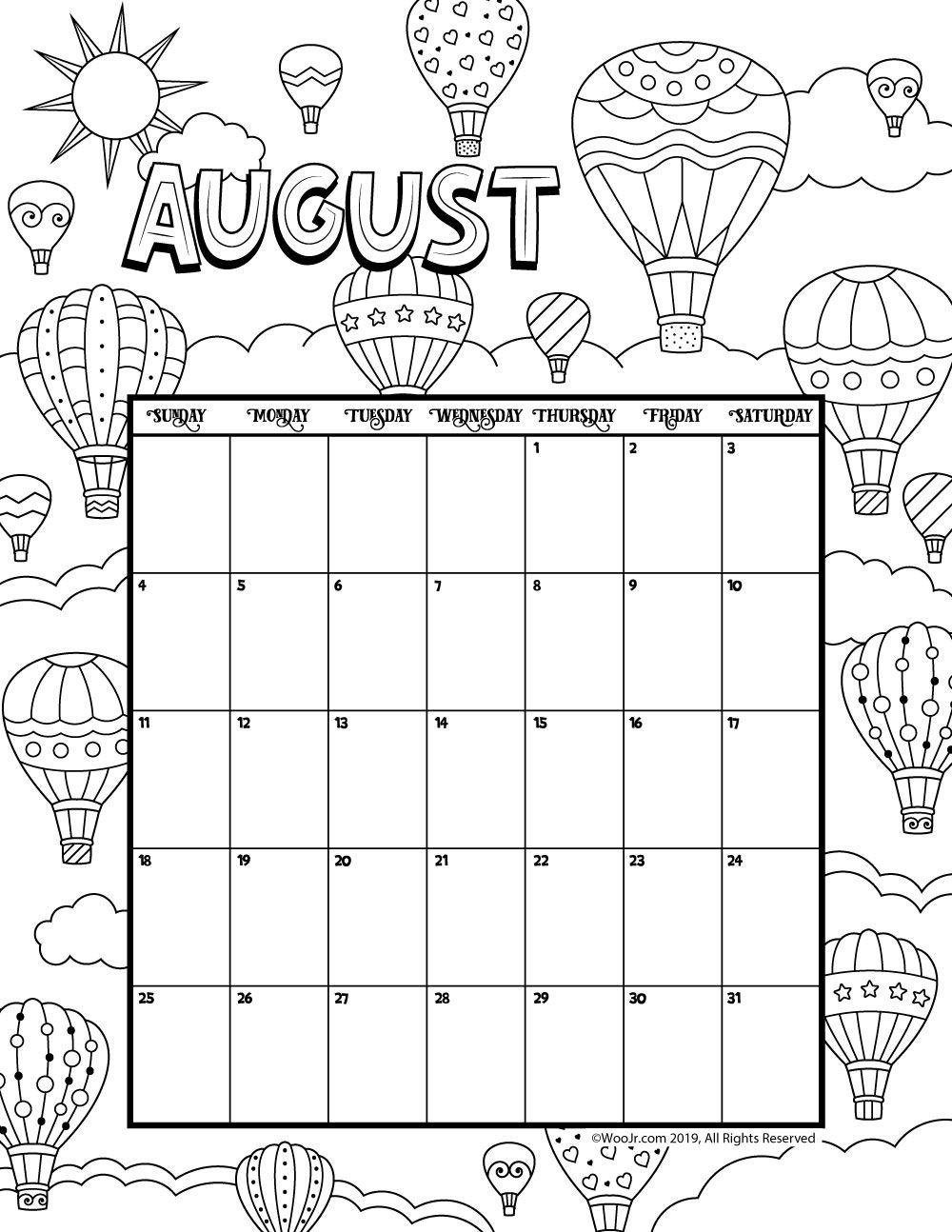 Take Kids August Calendar