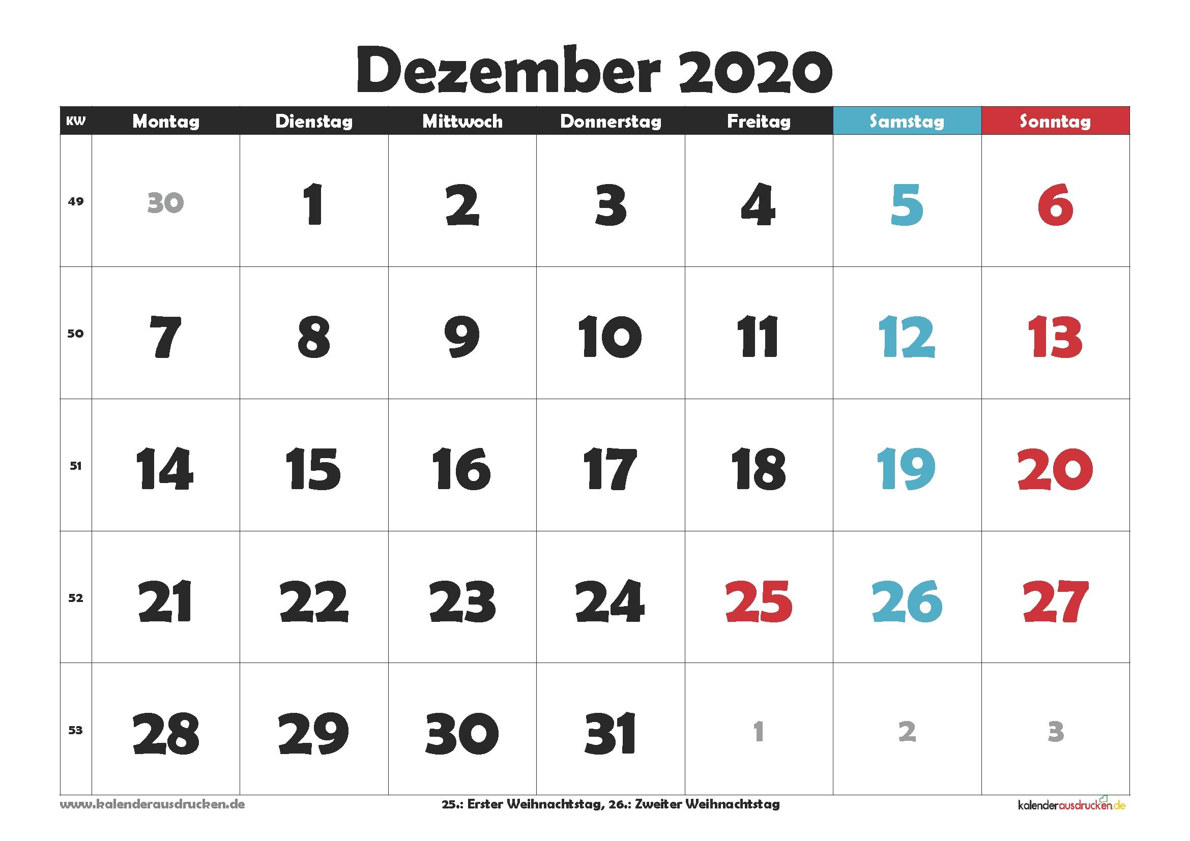 Take Kw Kalender 2021 Dezember