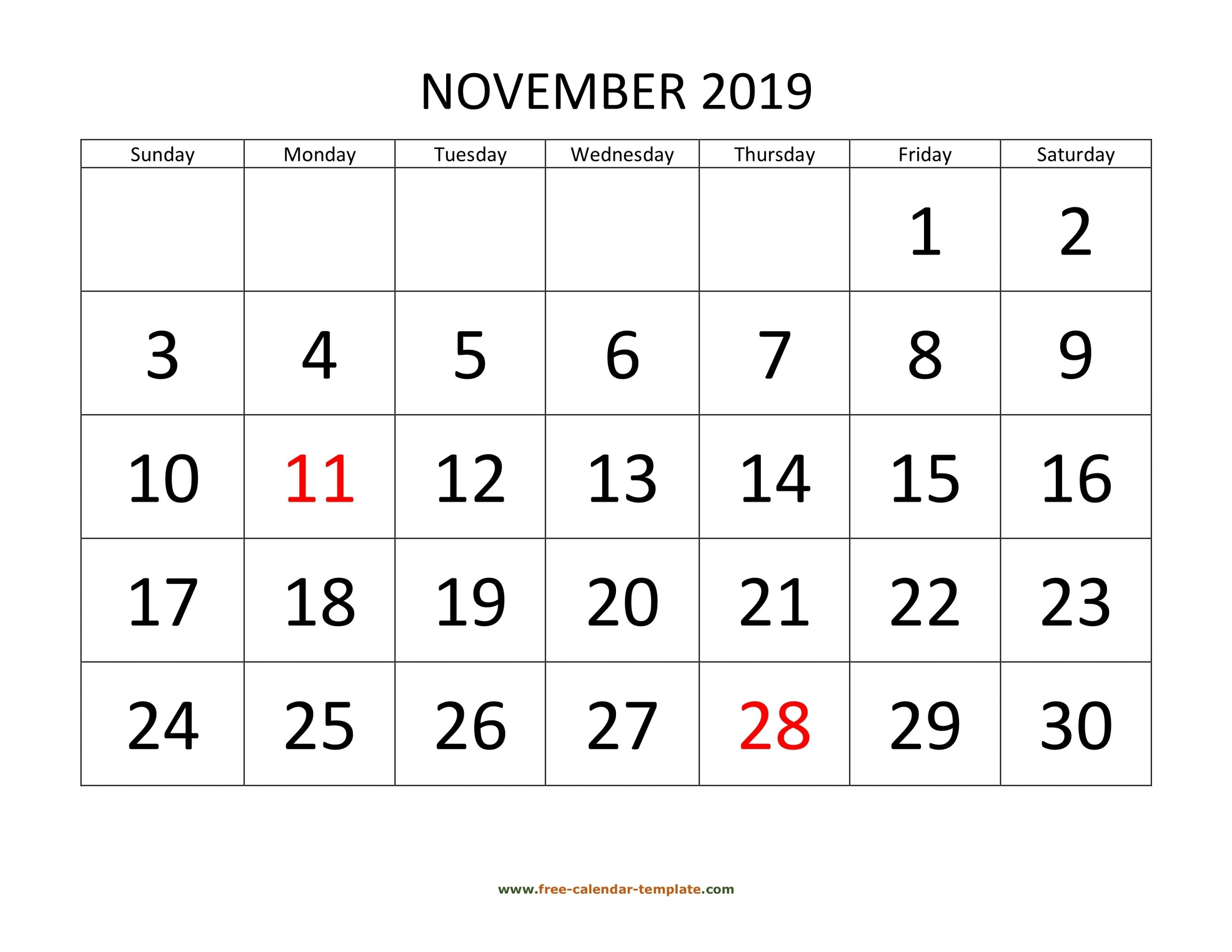 Take Large Box Monthly Calendar Free Print