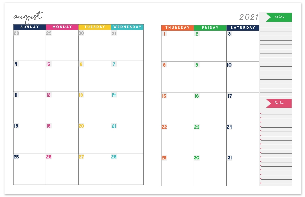 Take Lined August 2021 Calendar