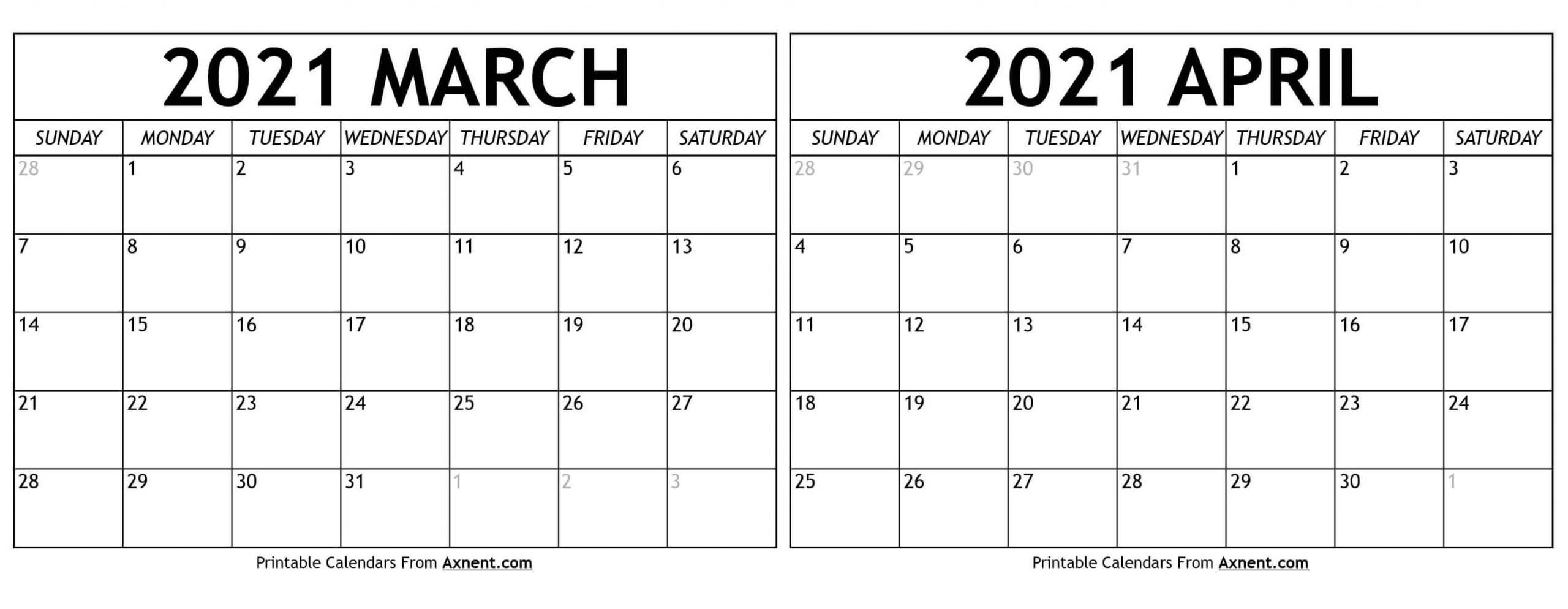 Take March And April Calendar 2021 Printable