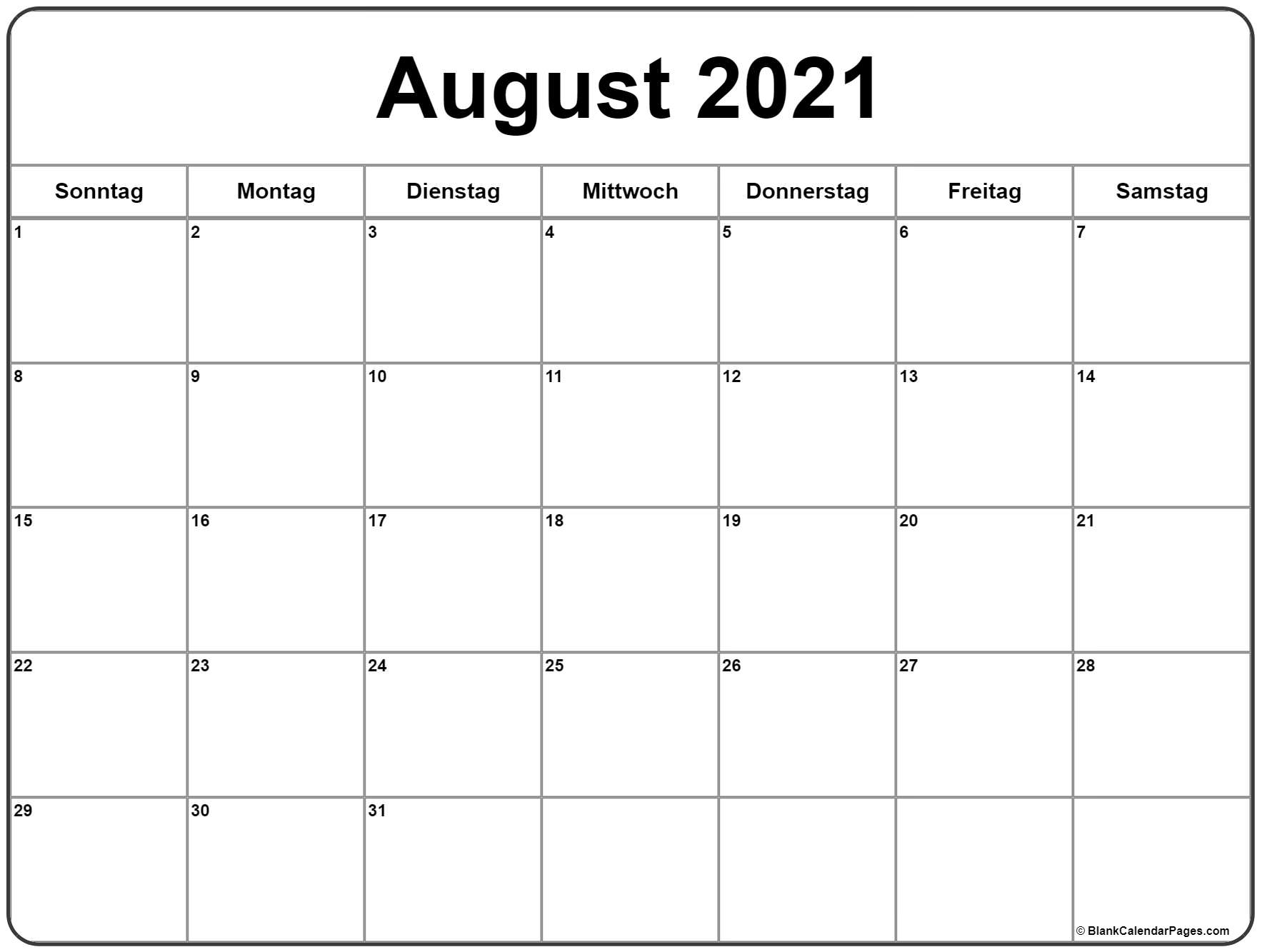 Take Monatskalender August 2021 Pdf