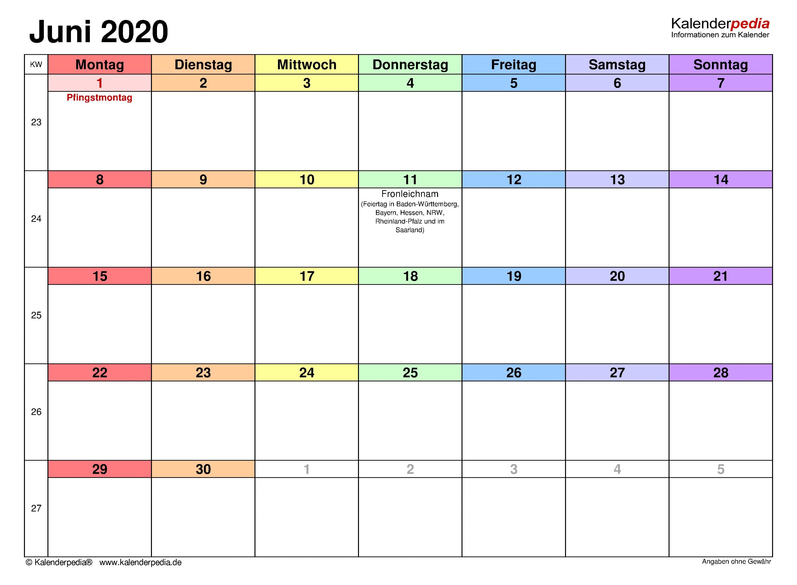 Take Monatsplan Juni 2021 Vorlage