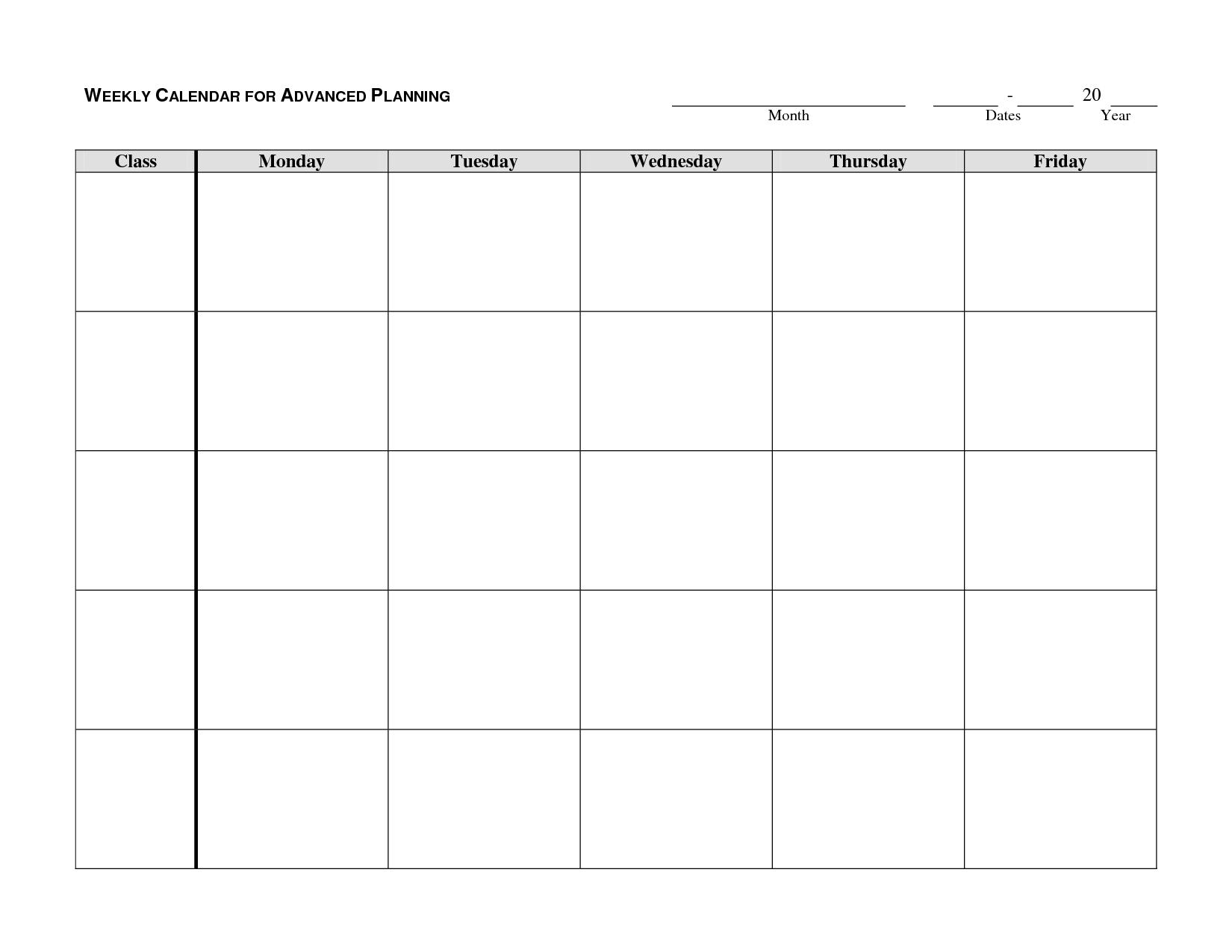 Take Monday Through Friday Monthly Calendar