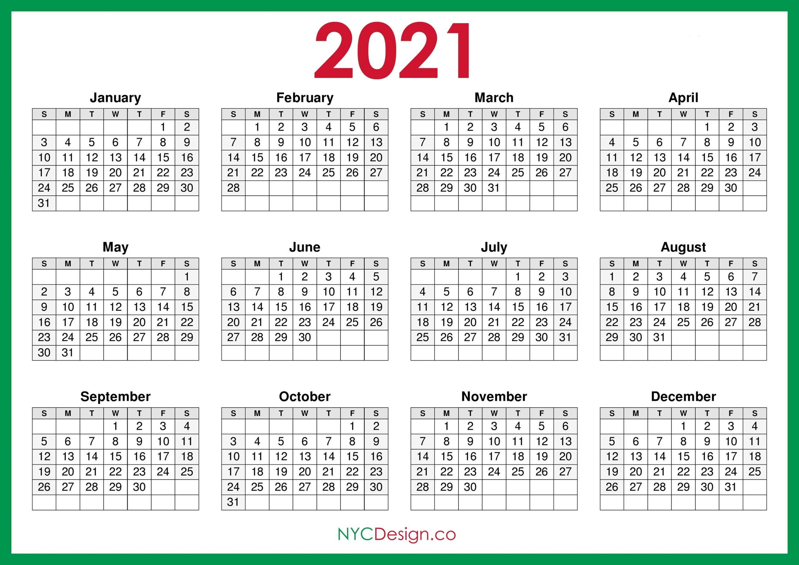 Take Monday To Sunday 2021 Calendar