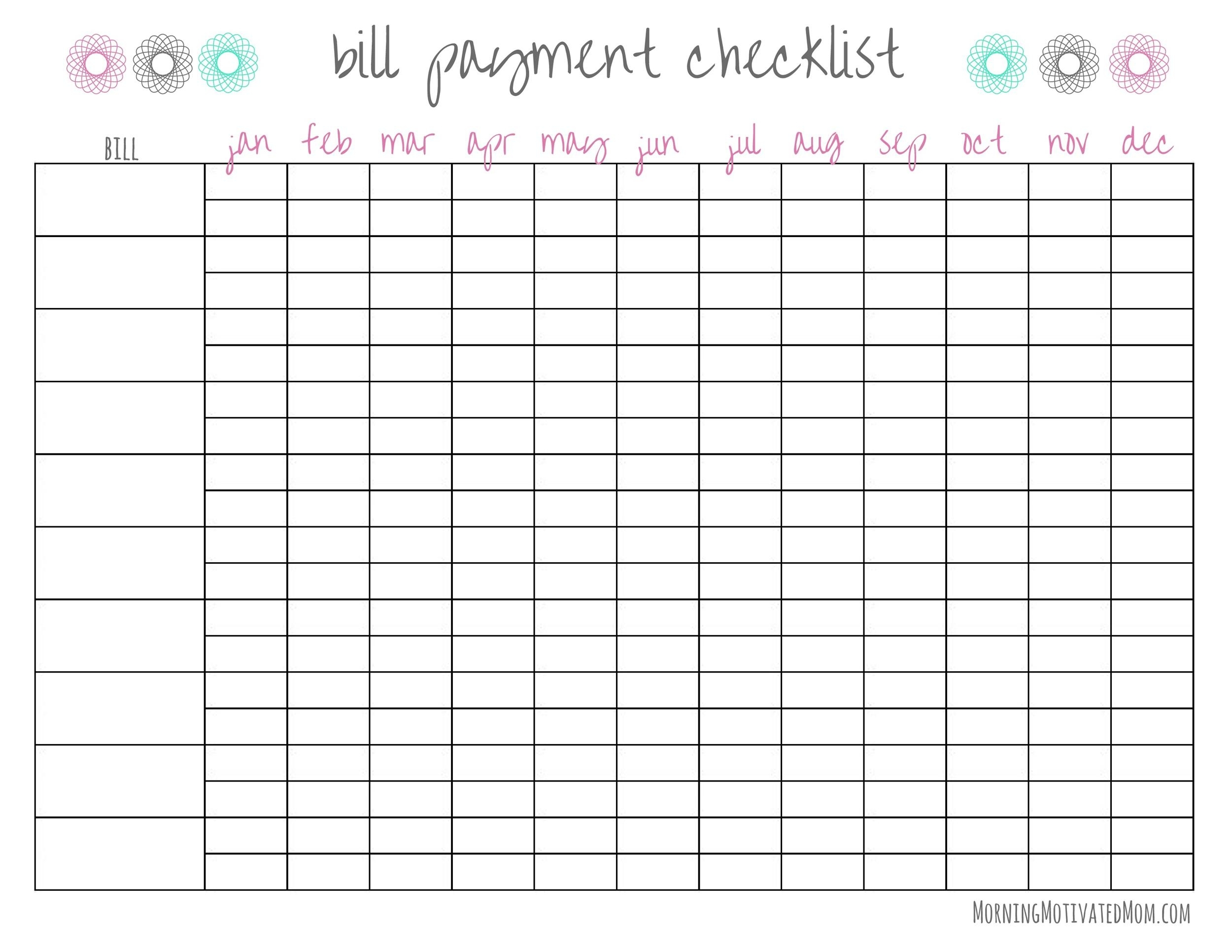 Take Monthly Bills Due List Printable
