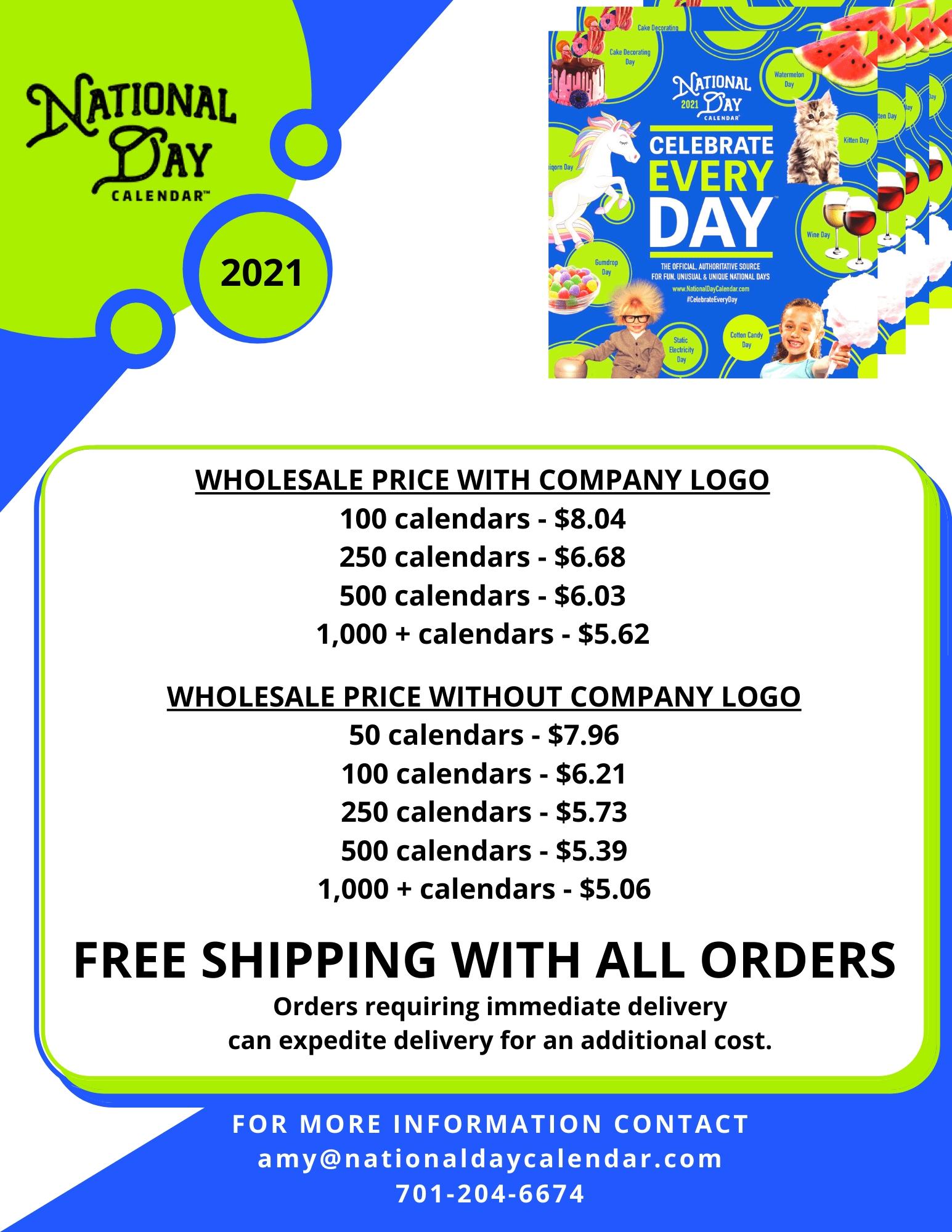 Take National Day Calendar 2021 Free