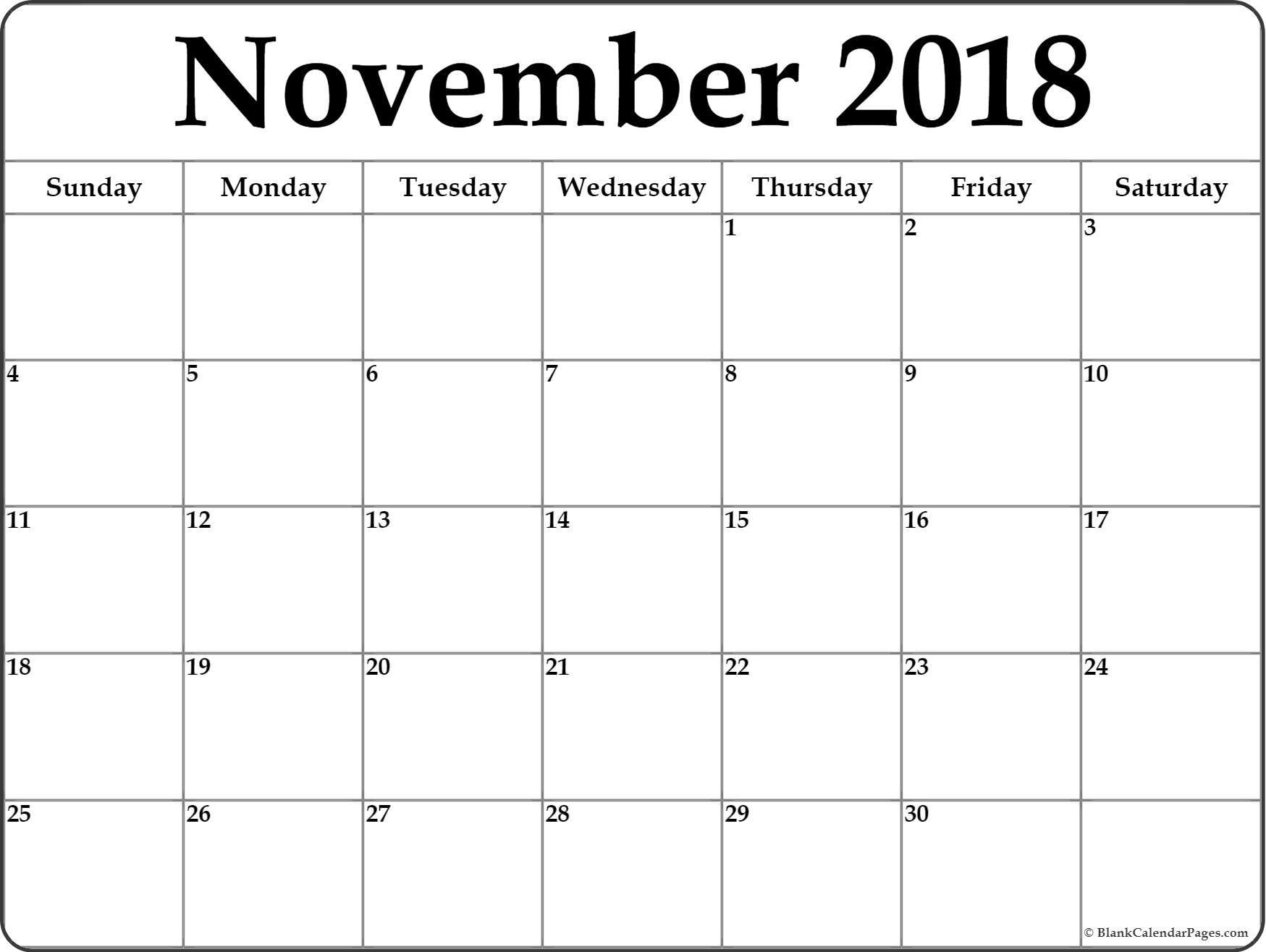 Take November 2018 Calendar Printable Monthly