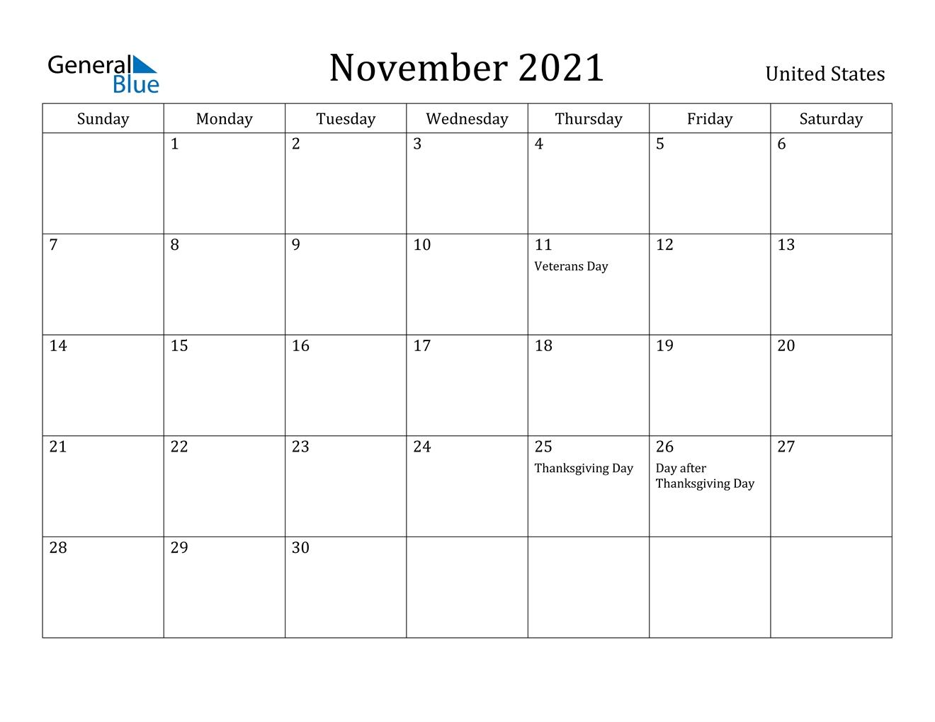 Take November 2021 Calendar With Holidays