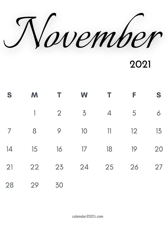Take November 2021 Calender Grid