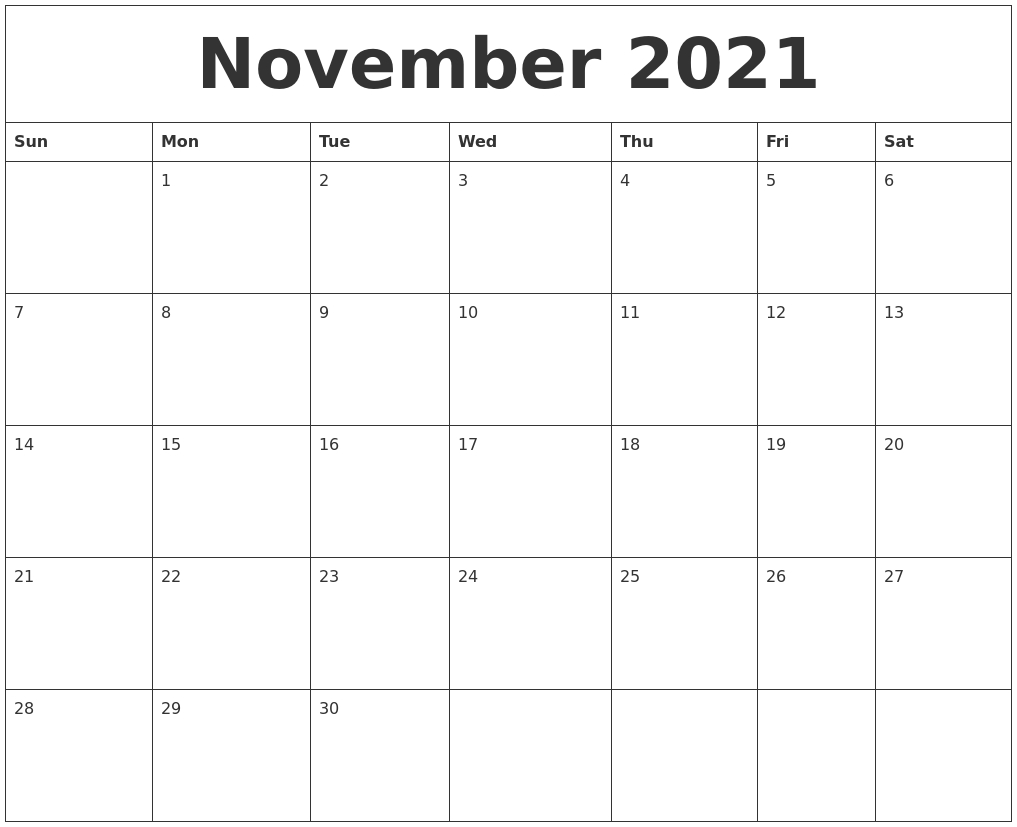 Take November 2021 Printable Calendar Sheet