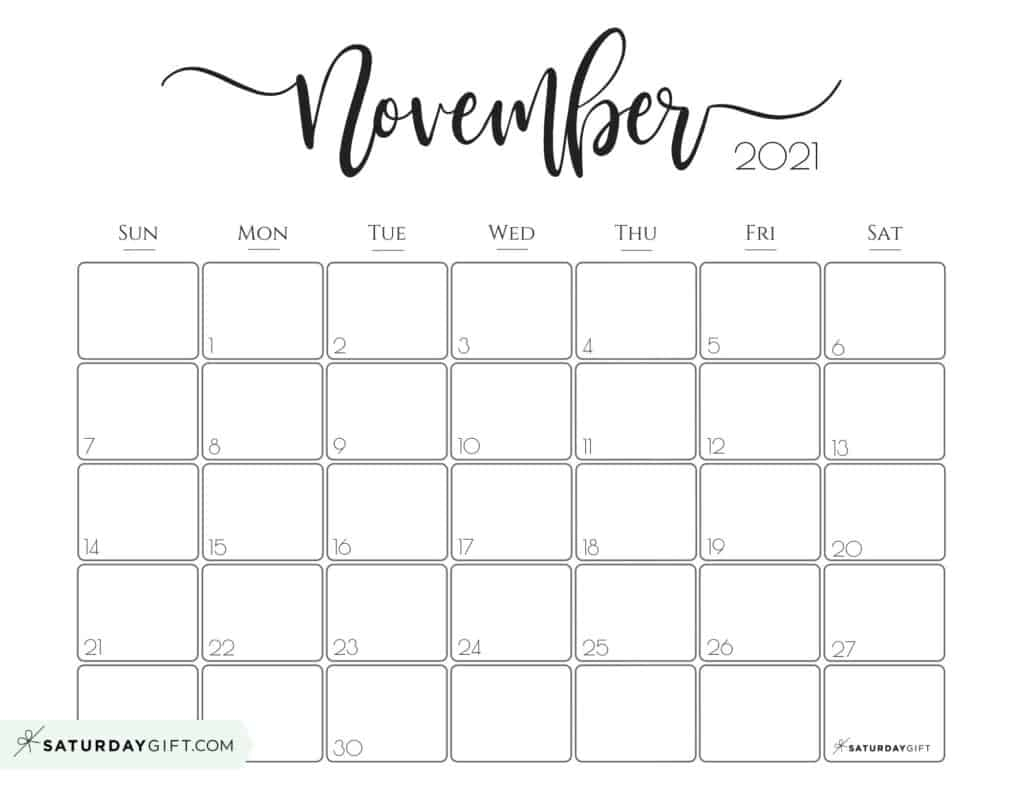 Take November Calender 2021 Starting Monday Pretty