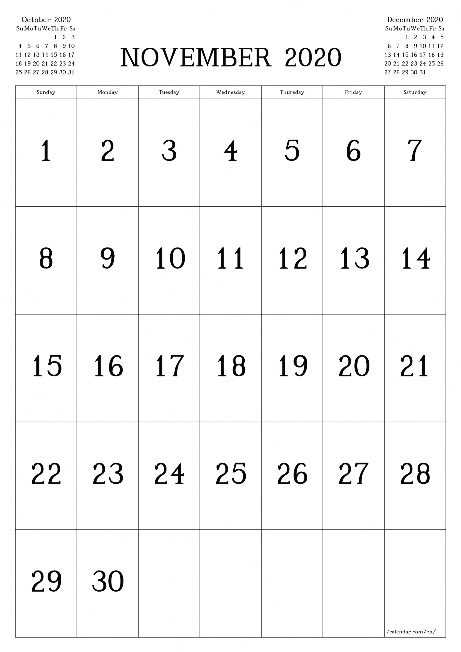 Take November Calender Full Size