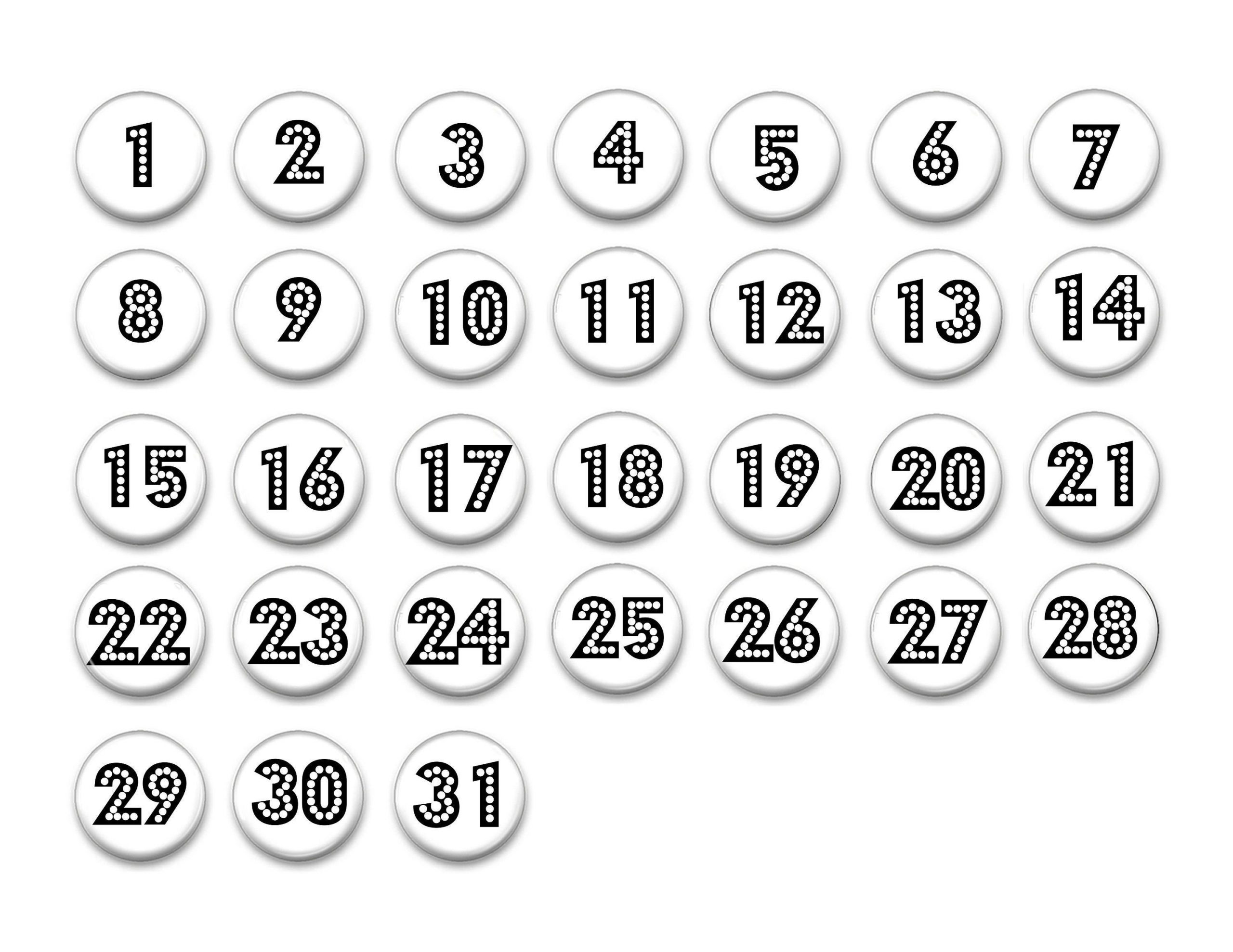 Take Numbers For Calendars 1 31