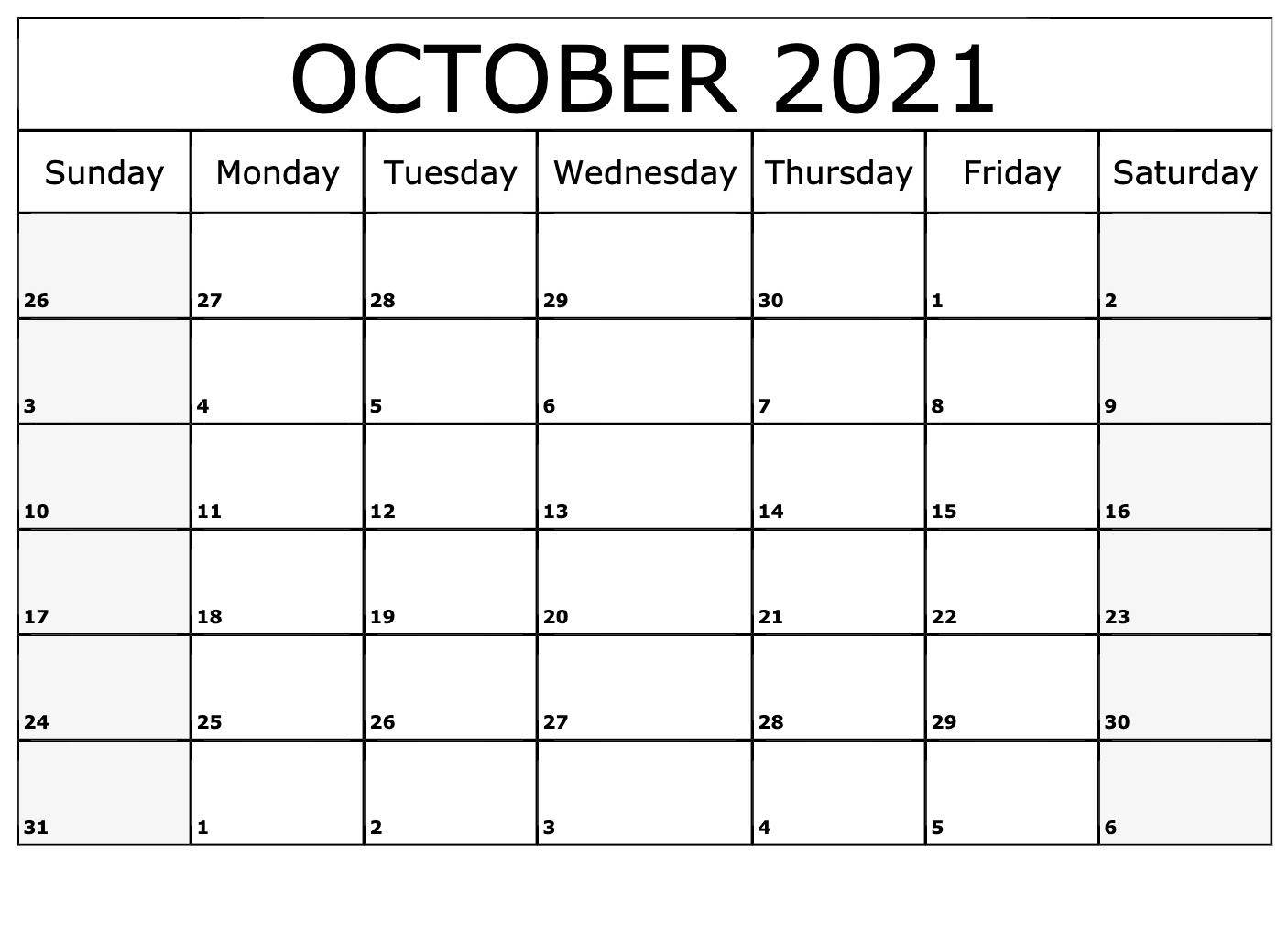 Take October 2021 Calendar