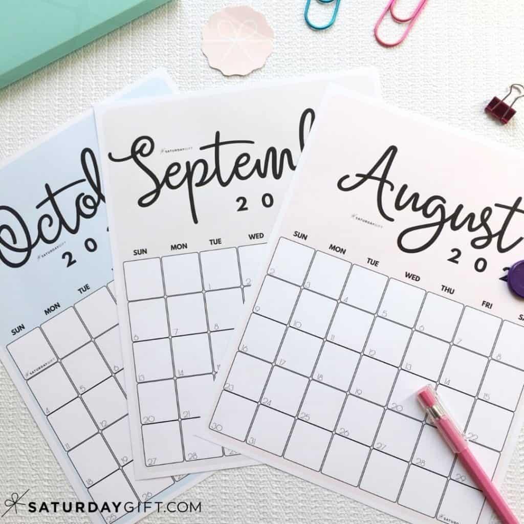 Take Pink August Calendar 2021 Printable