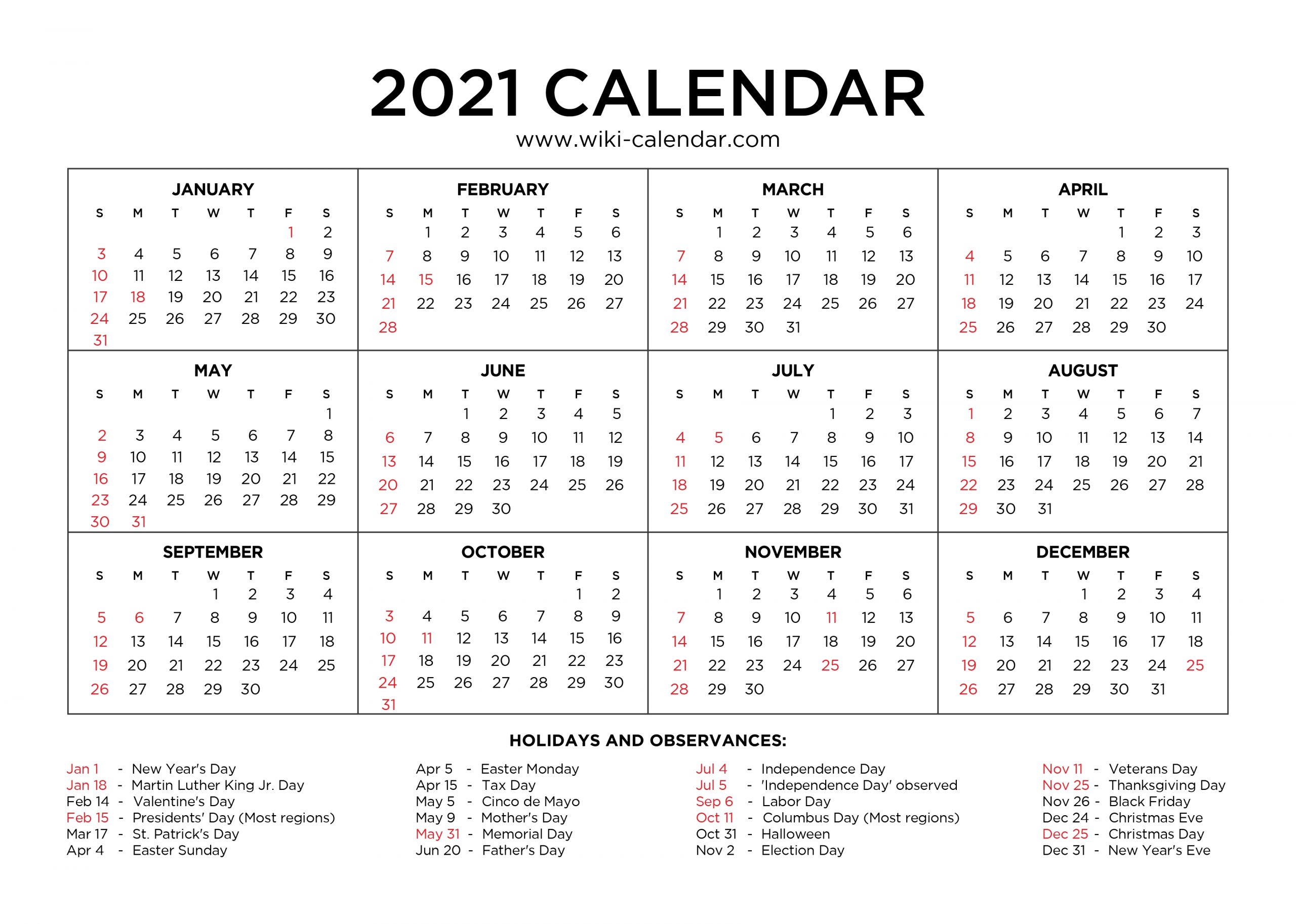 Take Print Free Monthly 2021 Calendar Without Downloading