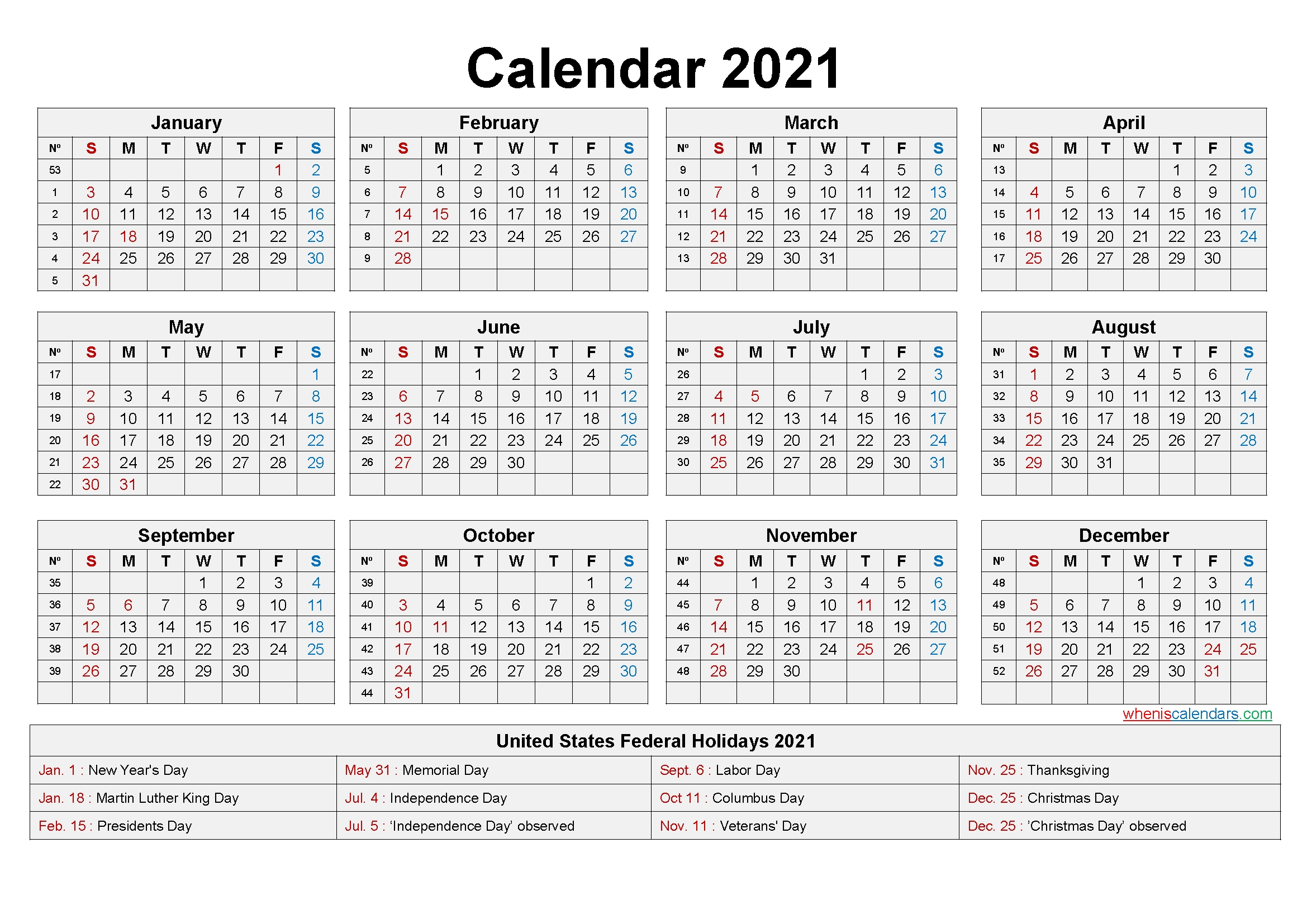 Take Print Yearly Calendar 2021 With Holidays