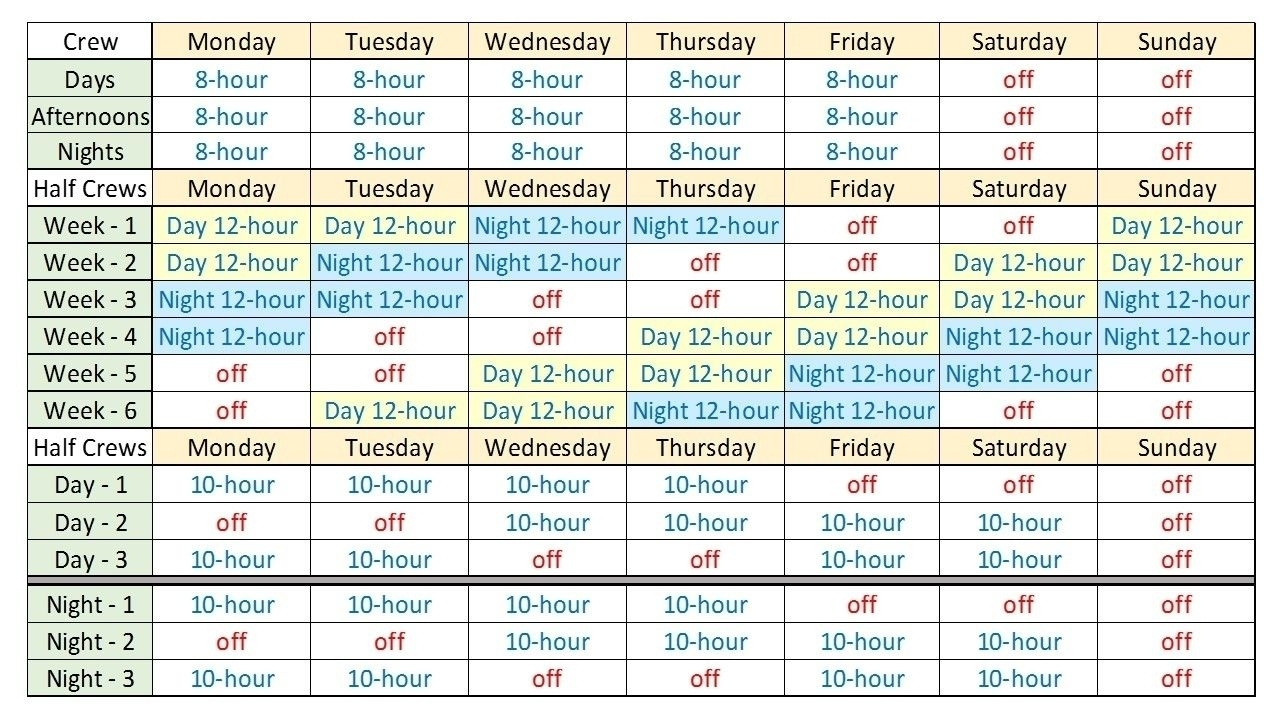 Take Printable 12 Hour Shift Schedule