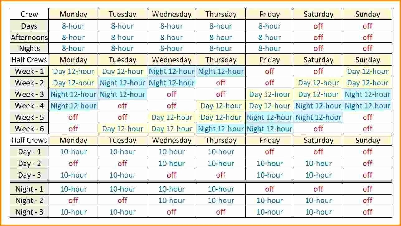 Take Printable 12 Hour Work Schedule