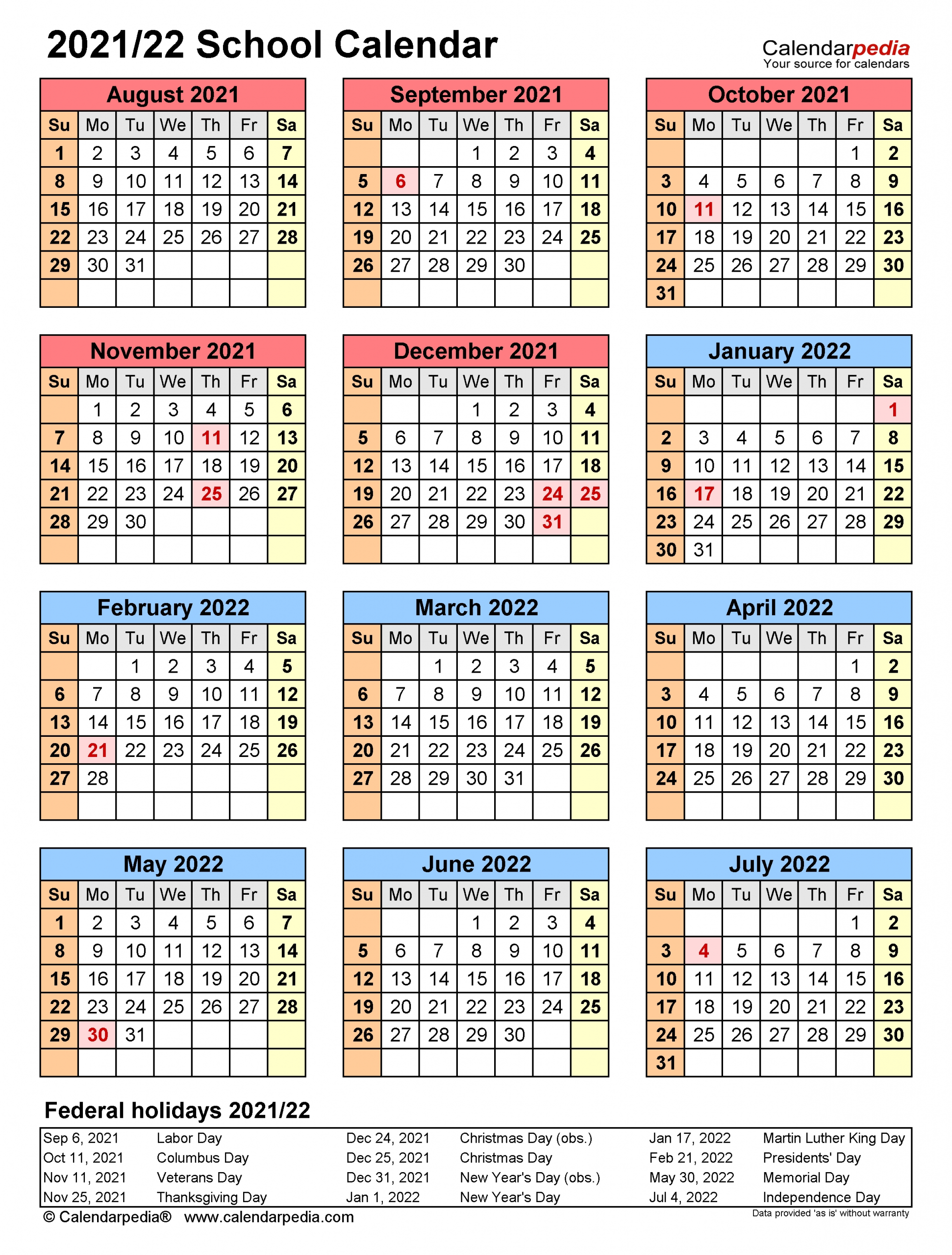 Take Printable 2021 2022 School Calendar