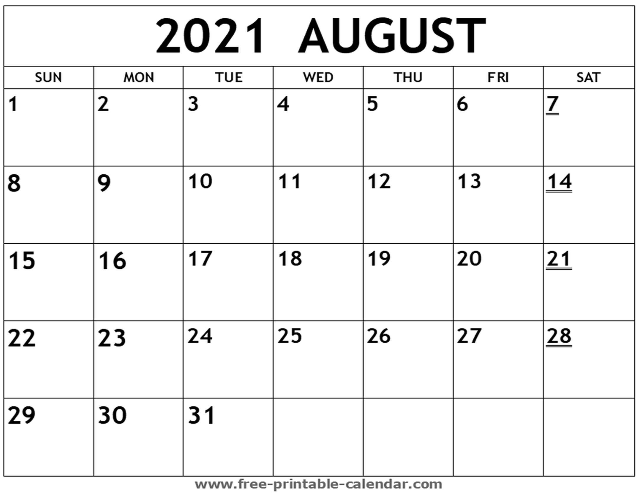 Take Printable 2021 August Calendar With Lines