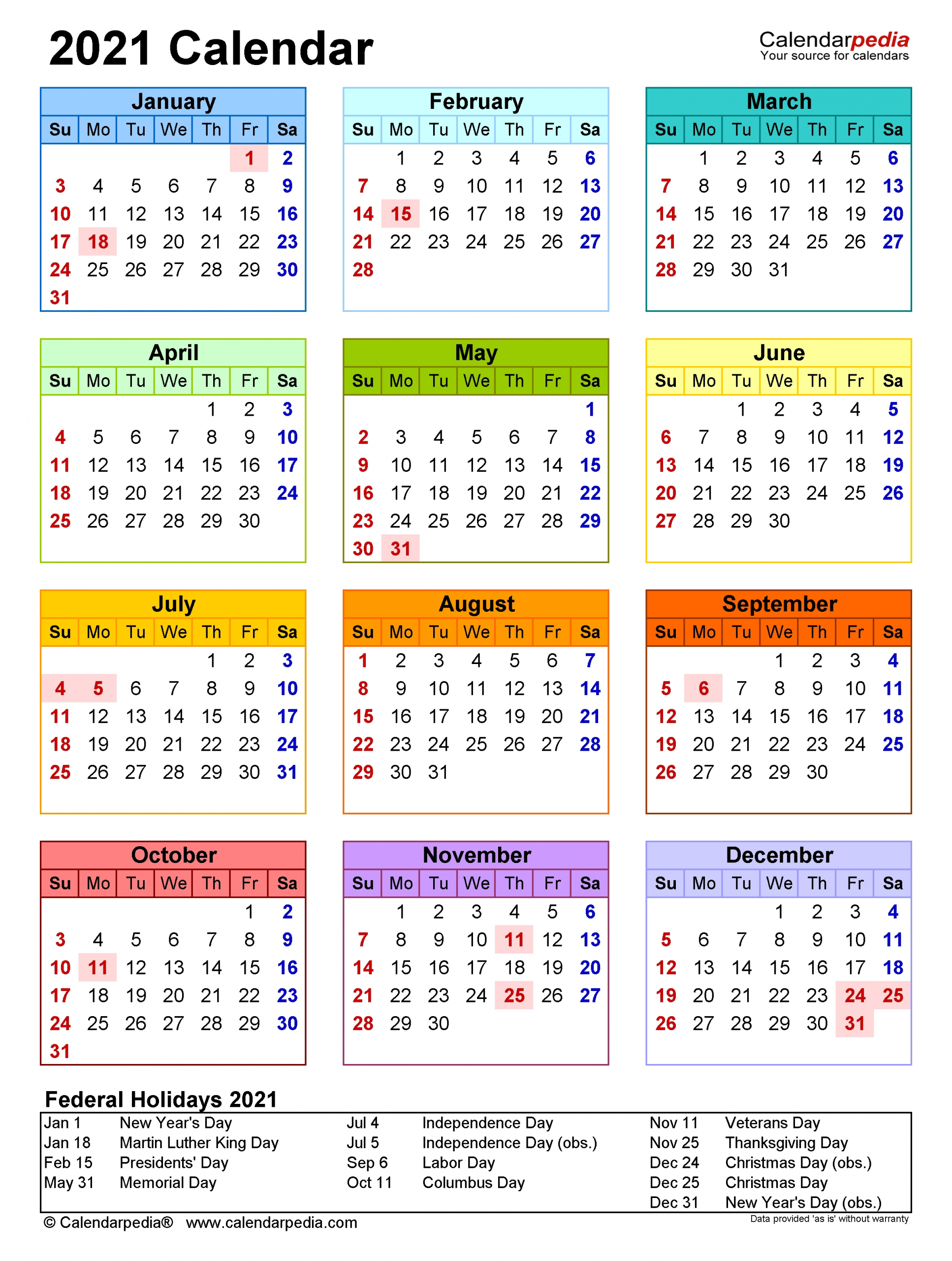 Take Printable 2021 Calendar By Month 2 Months At A View