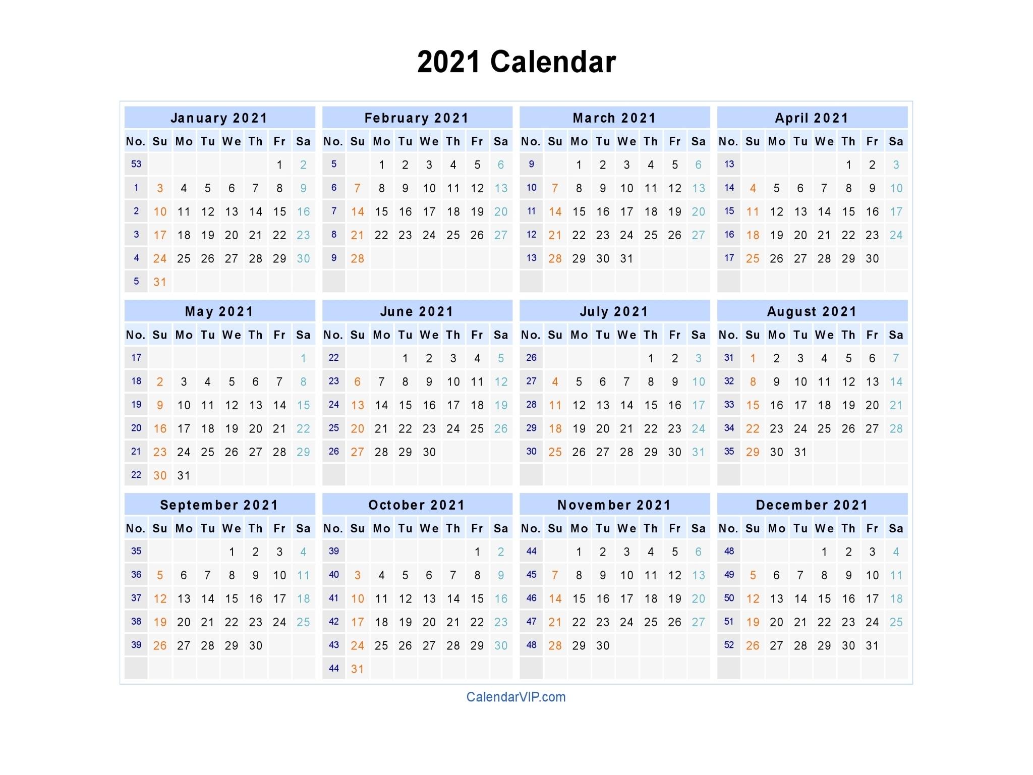 Take Printable 2021 Calendar Landscape