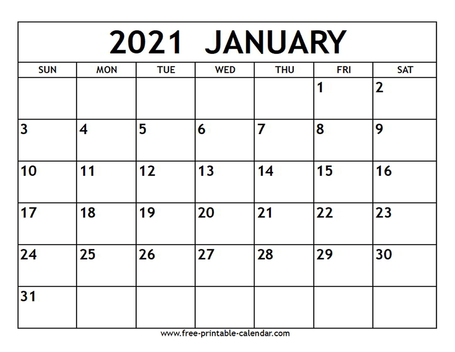 Take Printable 2021 Calendar No Download