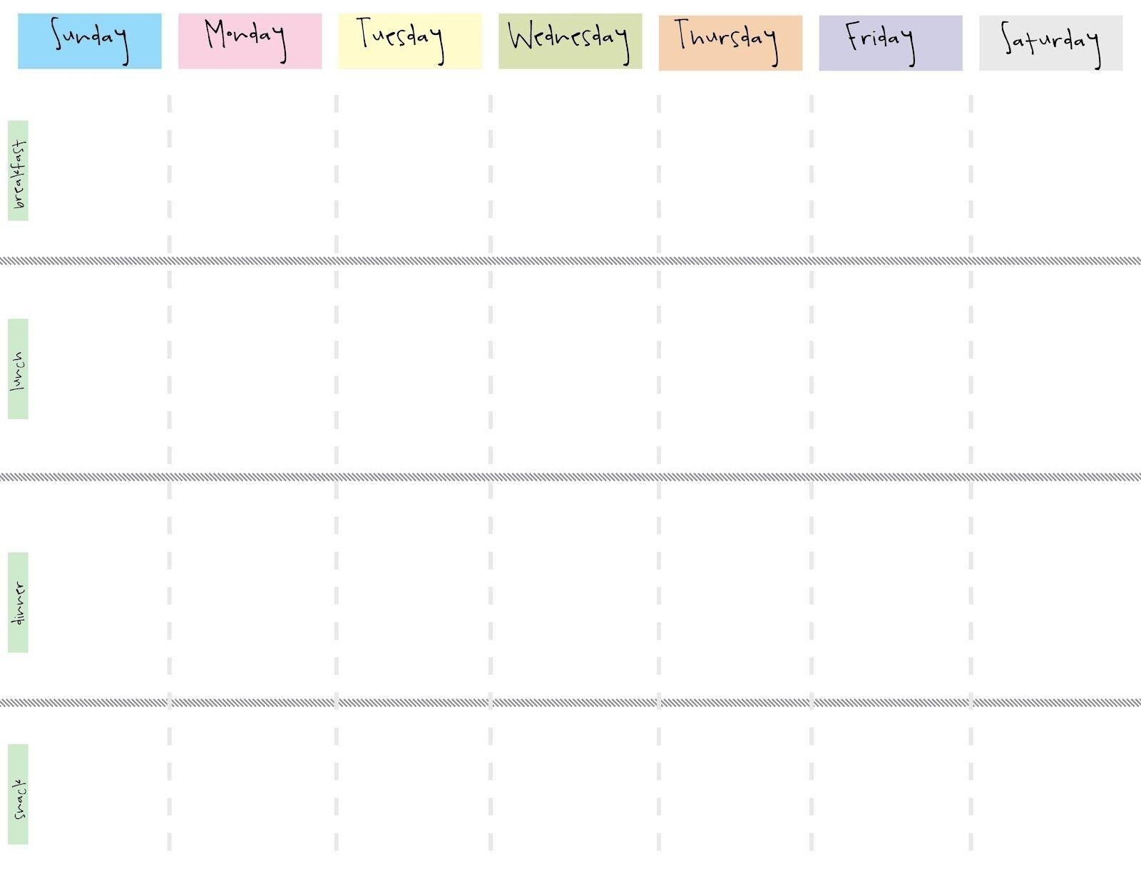Take Printable Blank Work Week Calendar