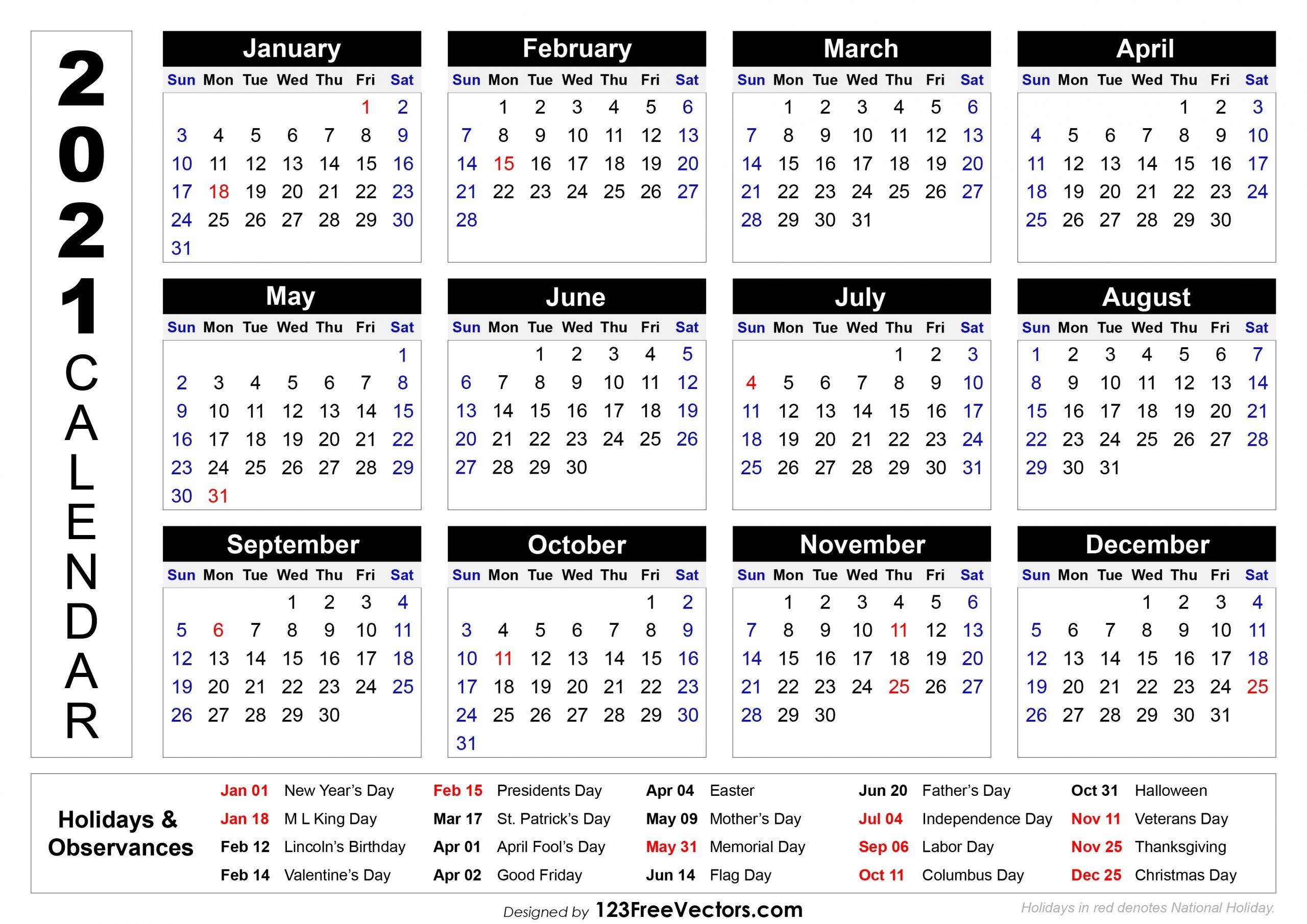 Take Printable Calendar 2021 National Days
